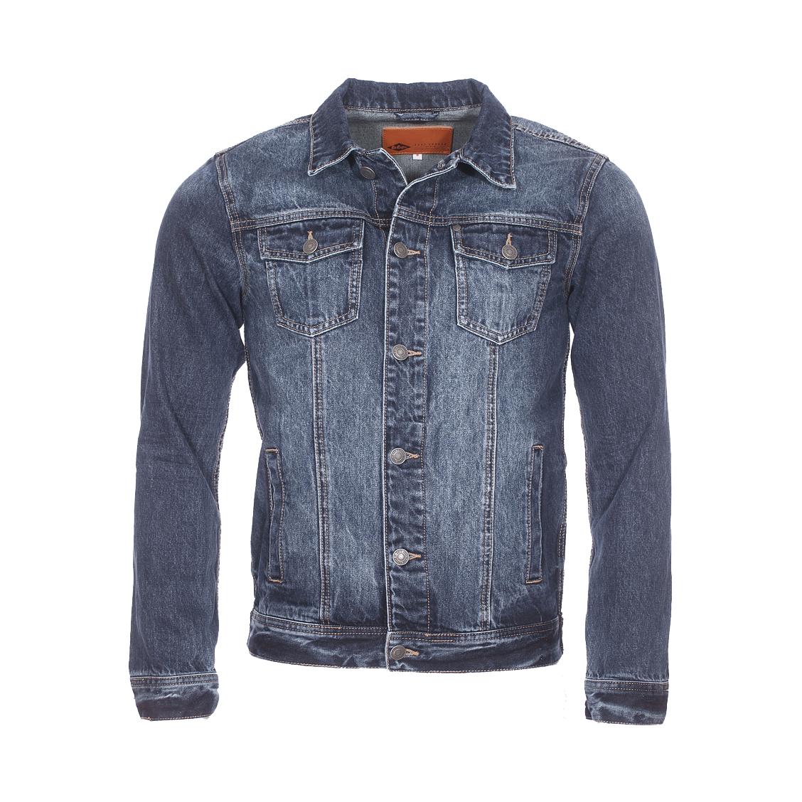 Veste en jean  field en coton bleu foncé légèrement délavé