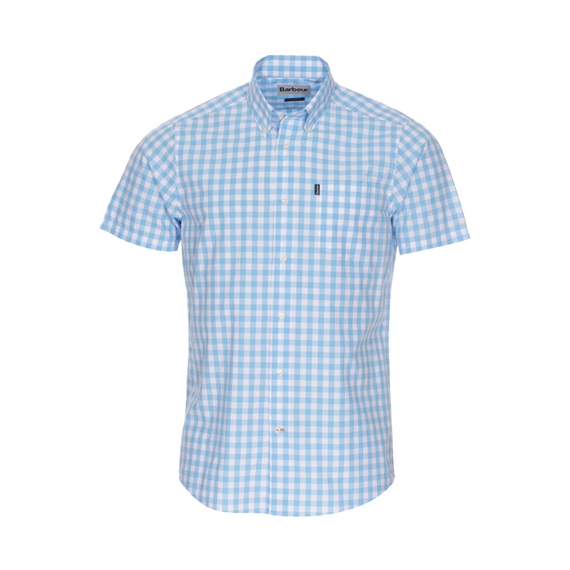 Chemise ajustée manches courtes Barbour en coton à carreaux bleu azur et blancs