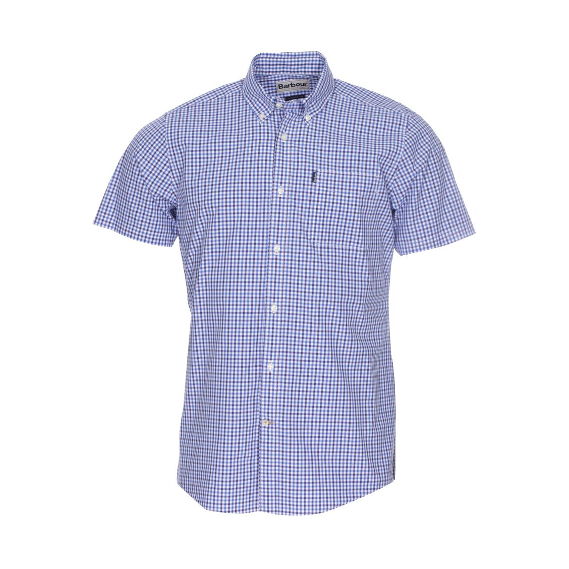 Chemise ajustée manches courtes Barbour en coton à carreaux bleus et blancs