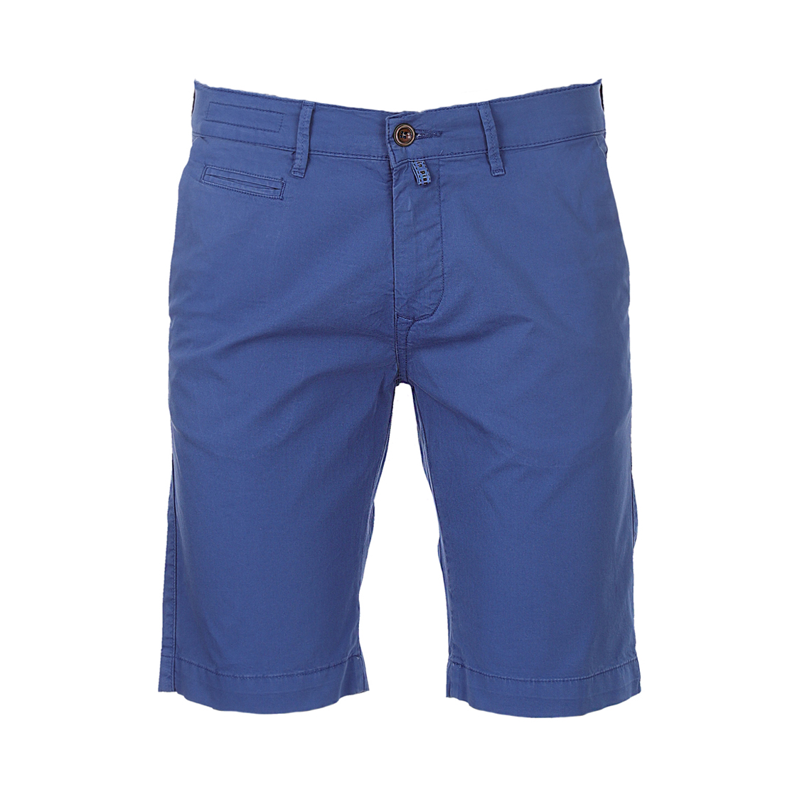 Short chino  lyon en coton stretch bleu indigo