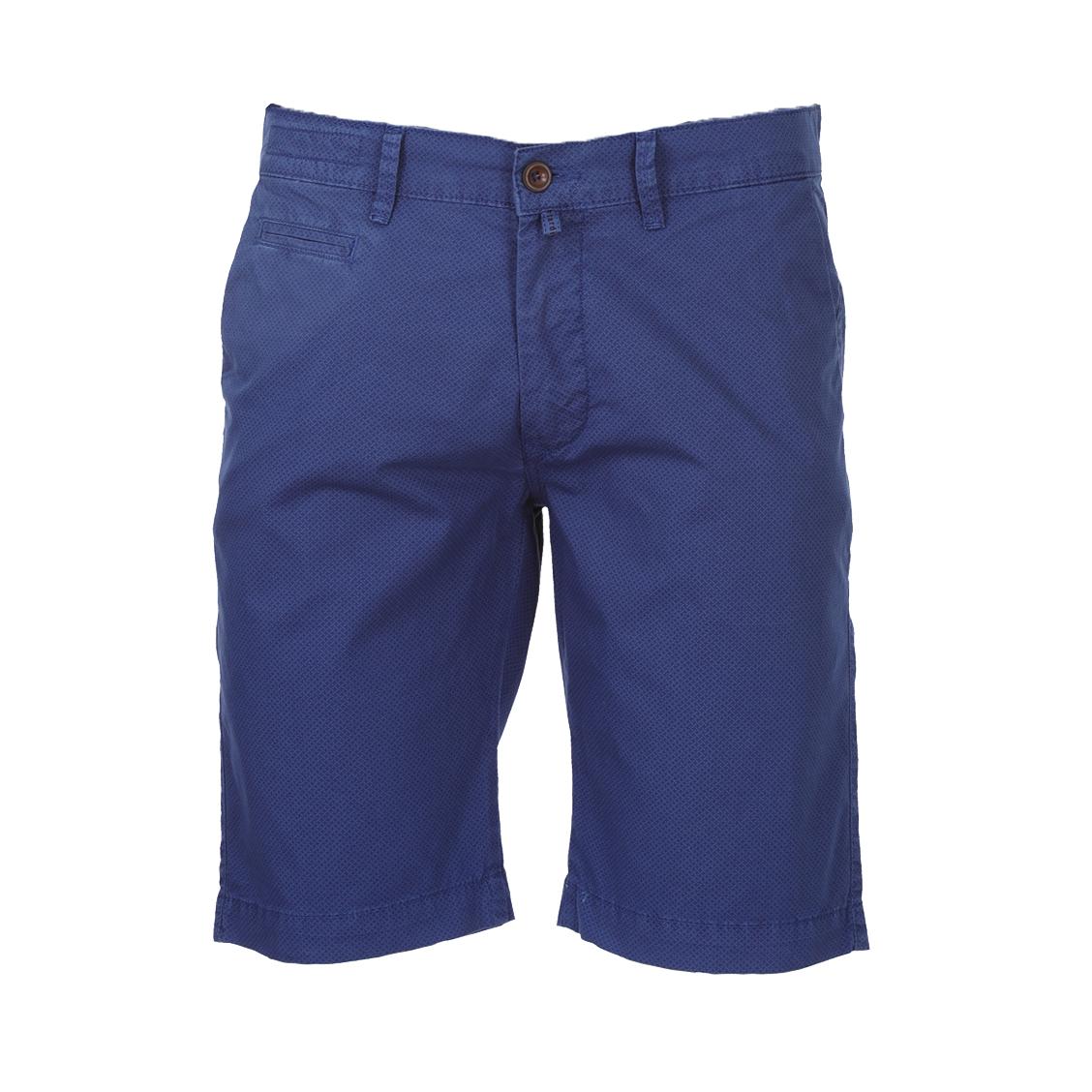 Short chino  lyon en coton stretch bleu indigo à micro motifs bleu pétrole