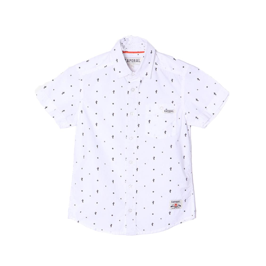 Chemise droite manches courtes  aspen en coton blanc à motifs noirs