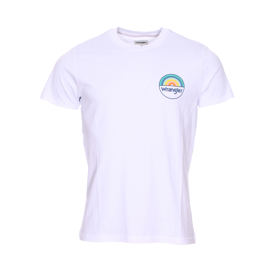 Tee-shirt col rond  rainbow en coton blanc floqué