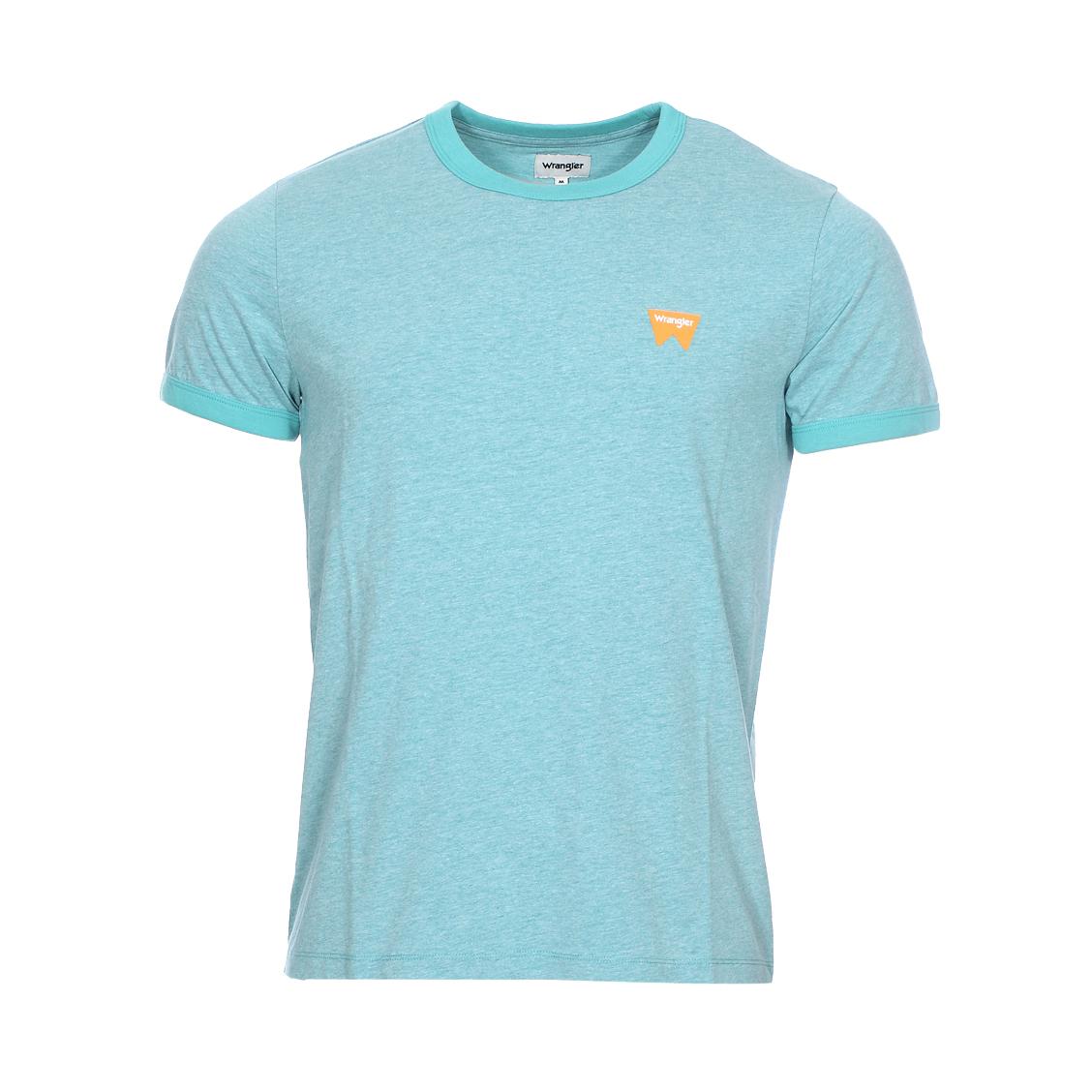 Tee-shirt col rond  sign off en coton mélangé bleu turquoise chiné
