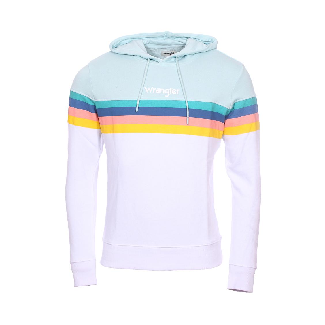 Sweat à capuche  rainbow en coton blanc et bleu à multi couleurs contrastantes