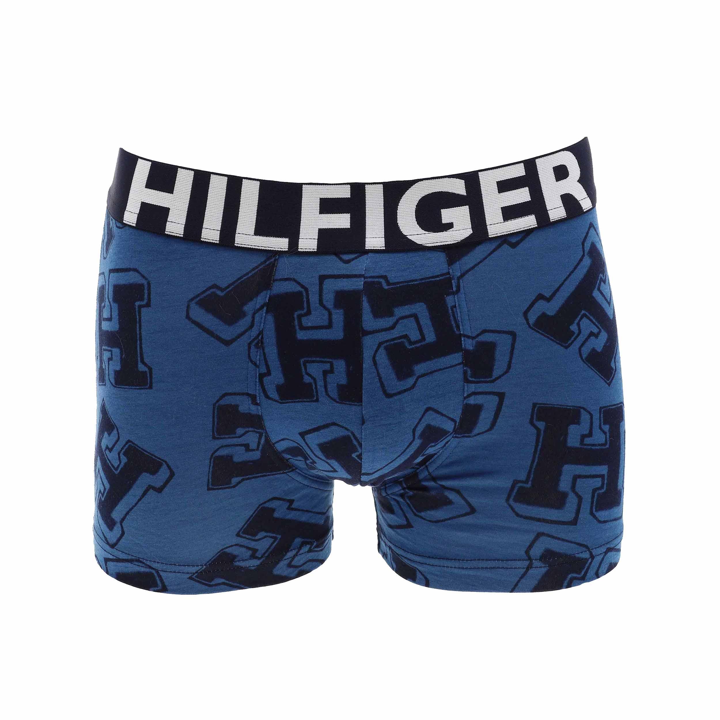 Boxer tommy hilfiger en coton stretch bleu pétrole monogrammé en bleu marine