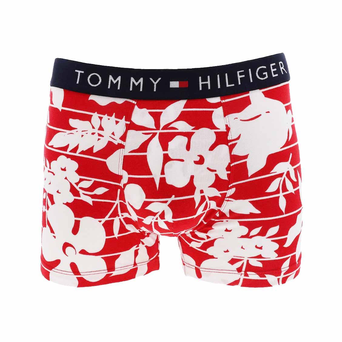 Boxer tommy hilfiger en coton stretch rouge à rayures et fleurs blanches