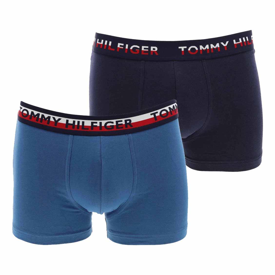 Lot de 2 boxers tommy hilfiger en coton stretch bleu marine et bleu pétrole
