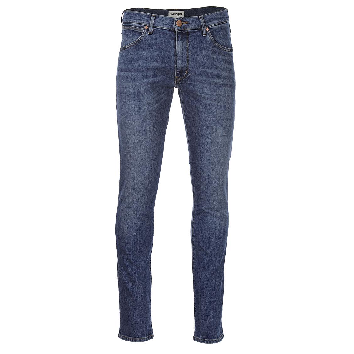 Jean slim tapered  larston en coton stretch bleu légèrement délavé