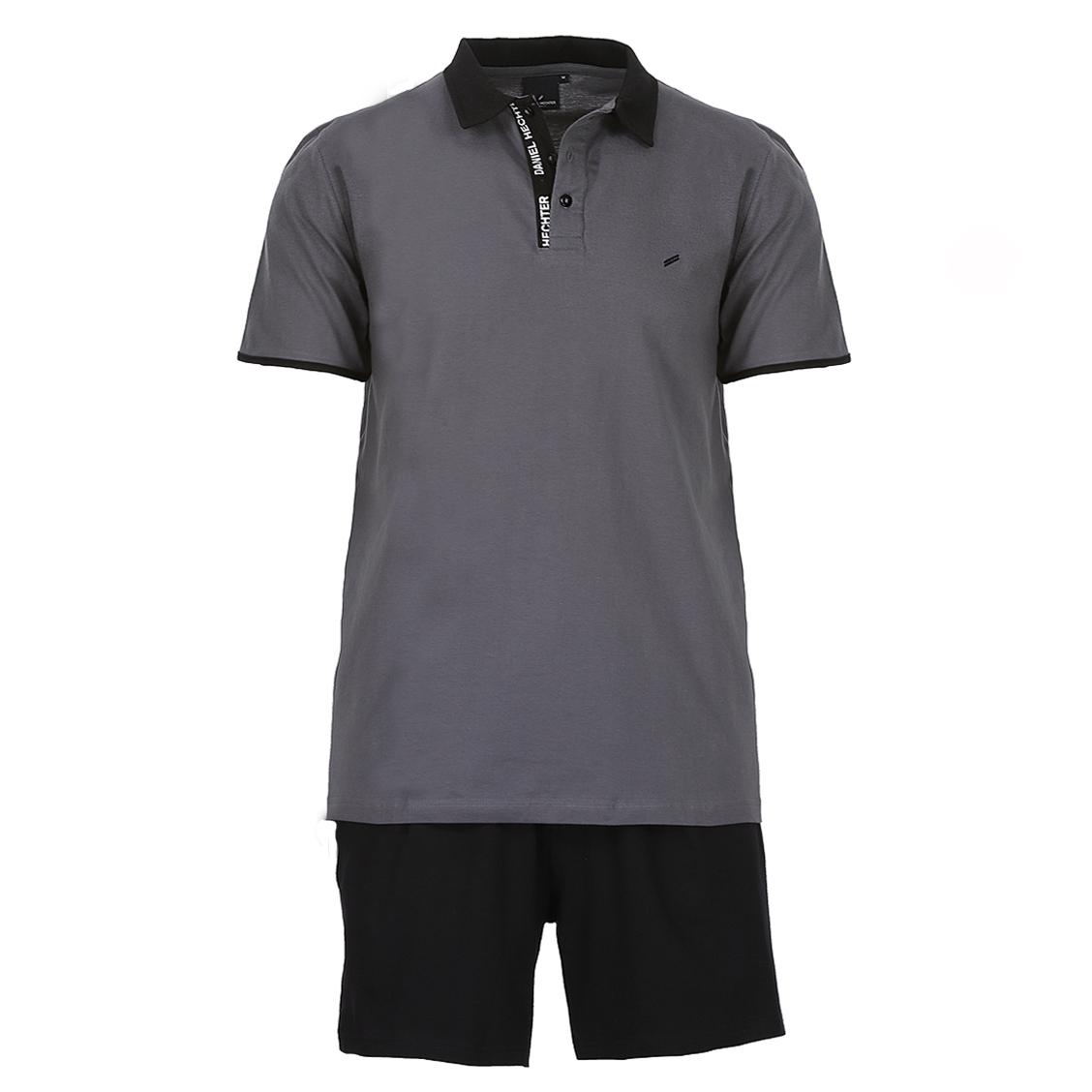 Pyjama court Hechter Studio en coton : polo gris et short noir