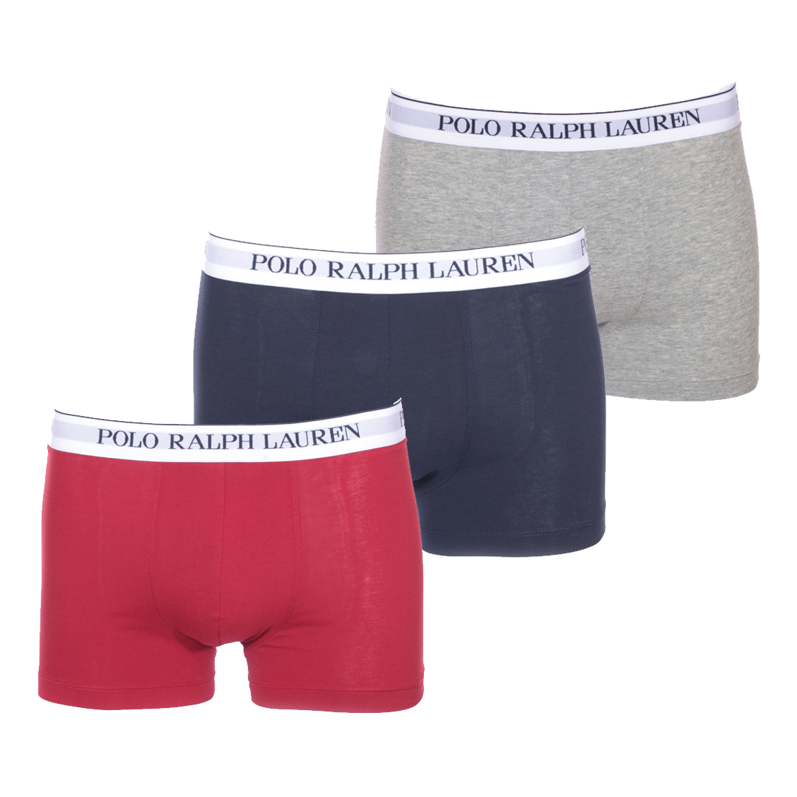 Lot de 3 boxers  en coton stretch bleu marine, rouge et gris chiné