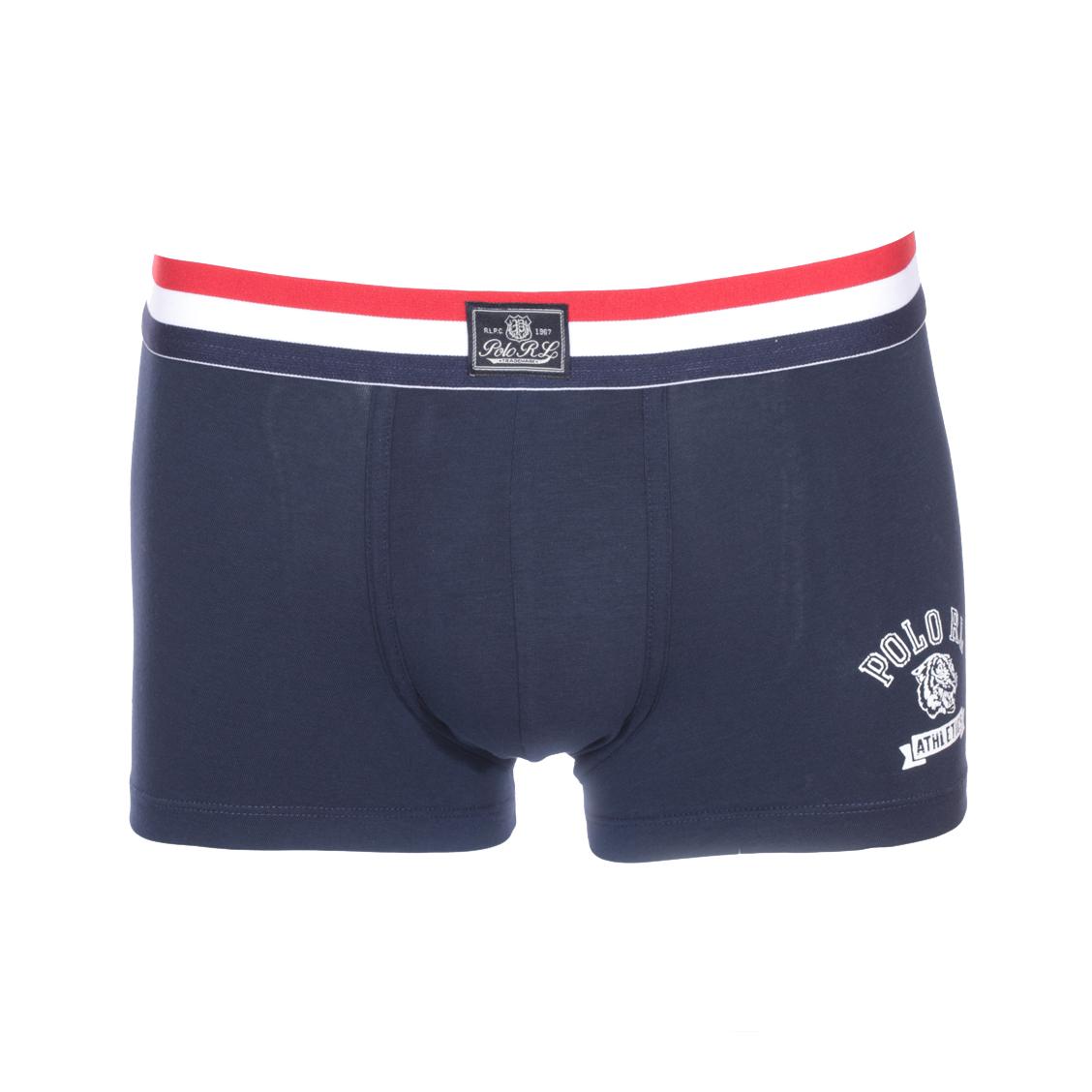 Boxer  en coton stretch bleu marine et ceinture tricolore