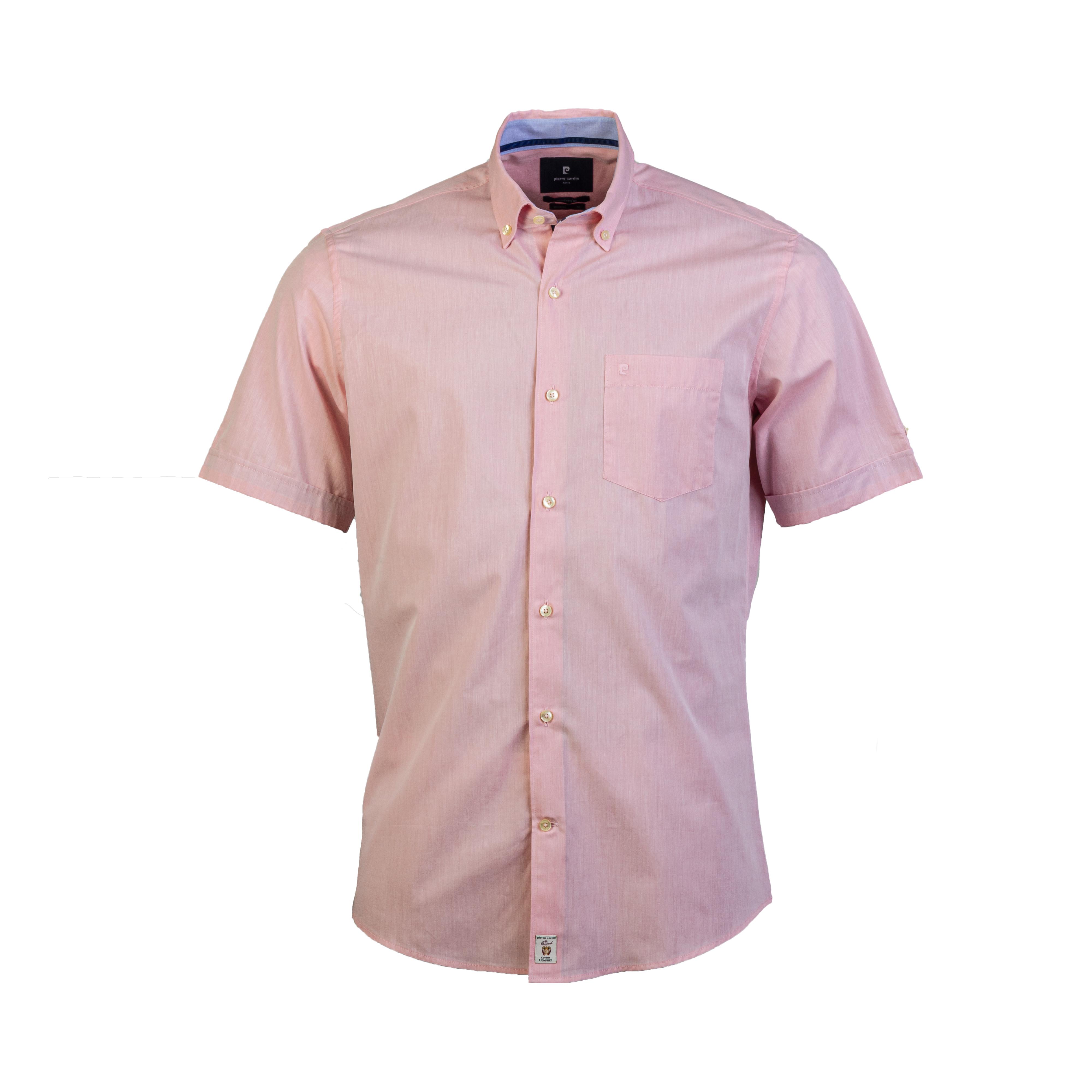 Chemise manches courtes ajustée  en coton rose à opposition bleu denim