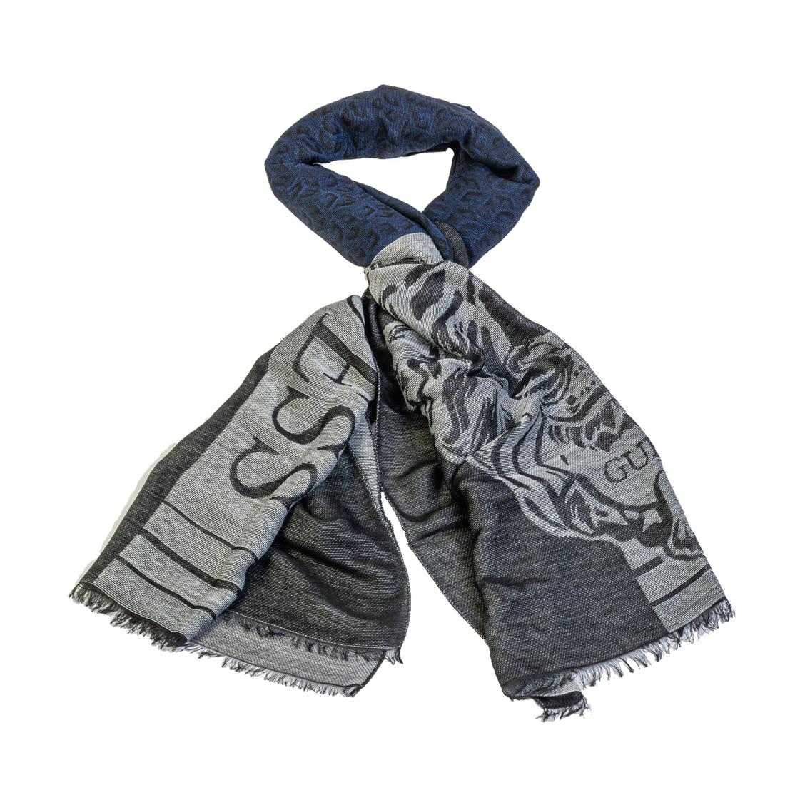 Chèche Guess noir chiné et bleu chiné à tête de lion grise