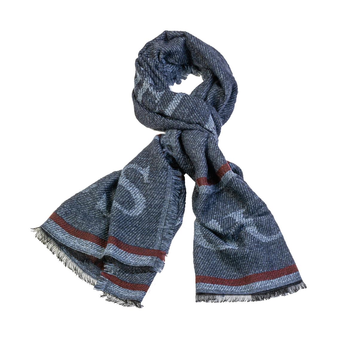 Echarpe guess en laine mélangée bleu pétrole chiné, logotypée en bleu acier et à liserés bordeaux