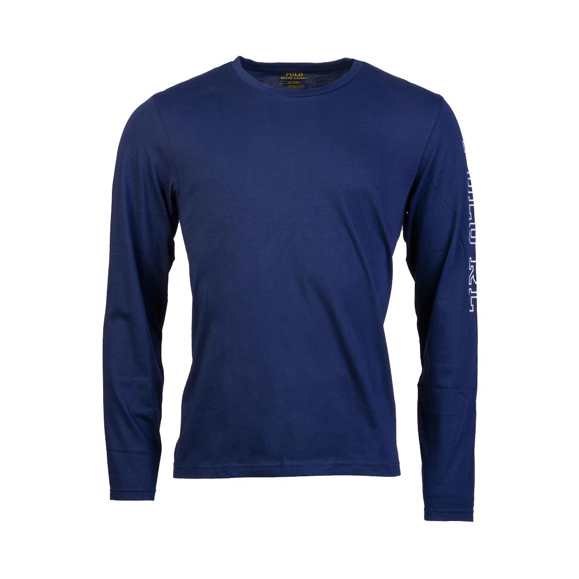 Tee-shirt manches longues col rond  en coton bleu marine floqué sur la manche