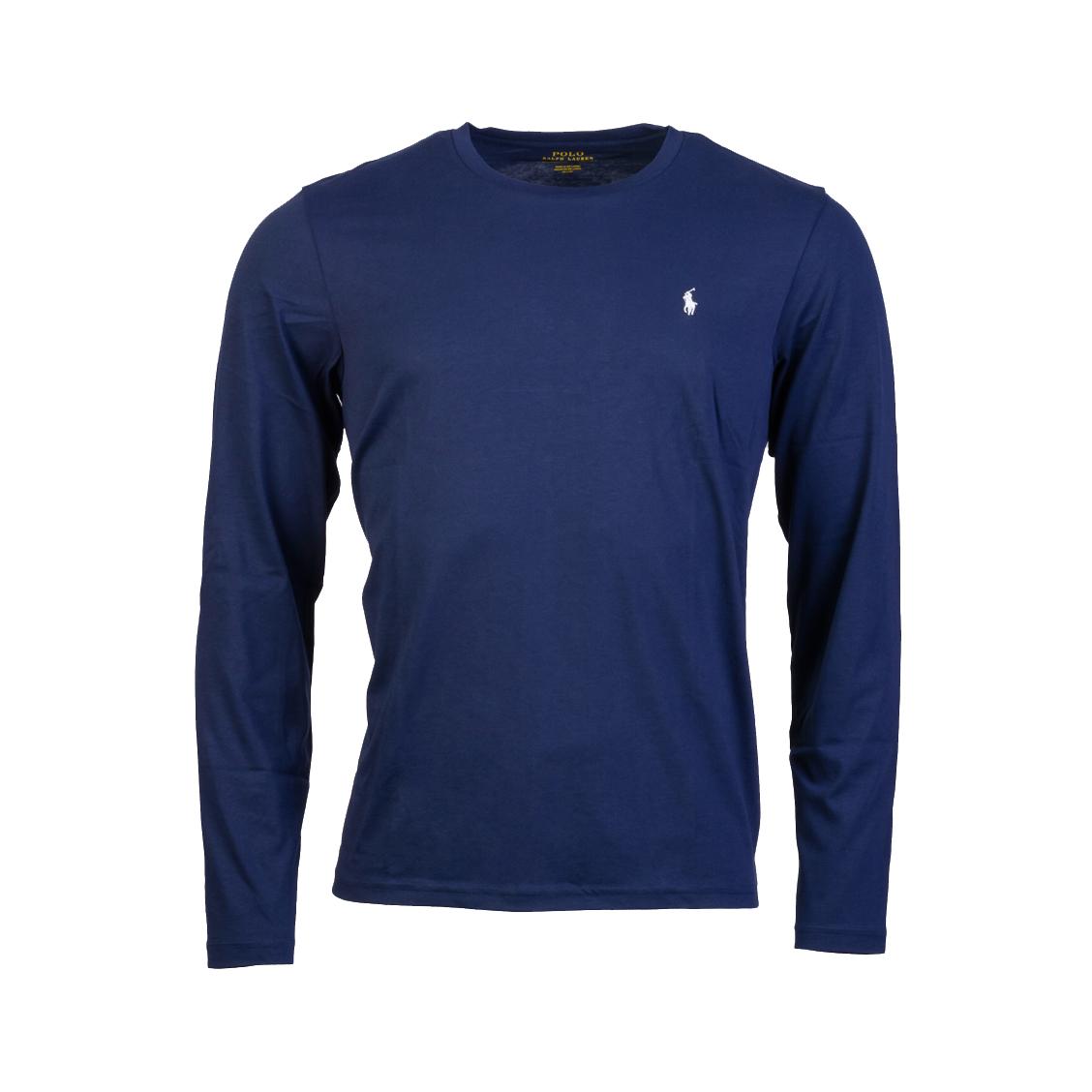 Tee-shirt manches longues col rond  en coton bleu marine brodé