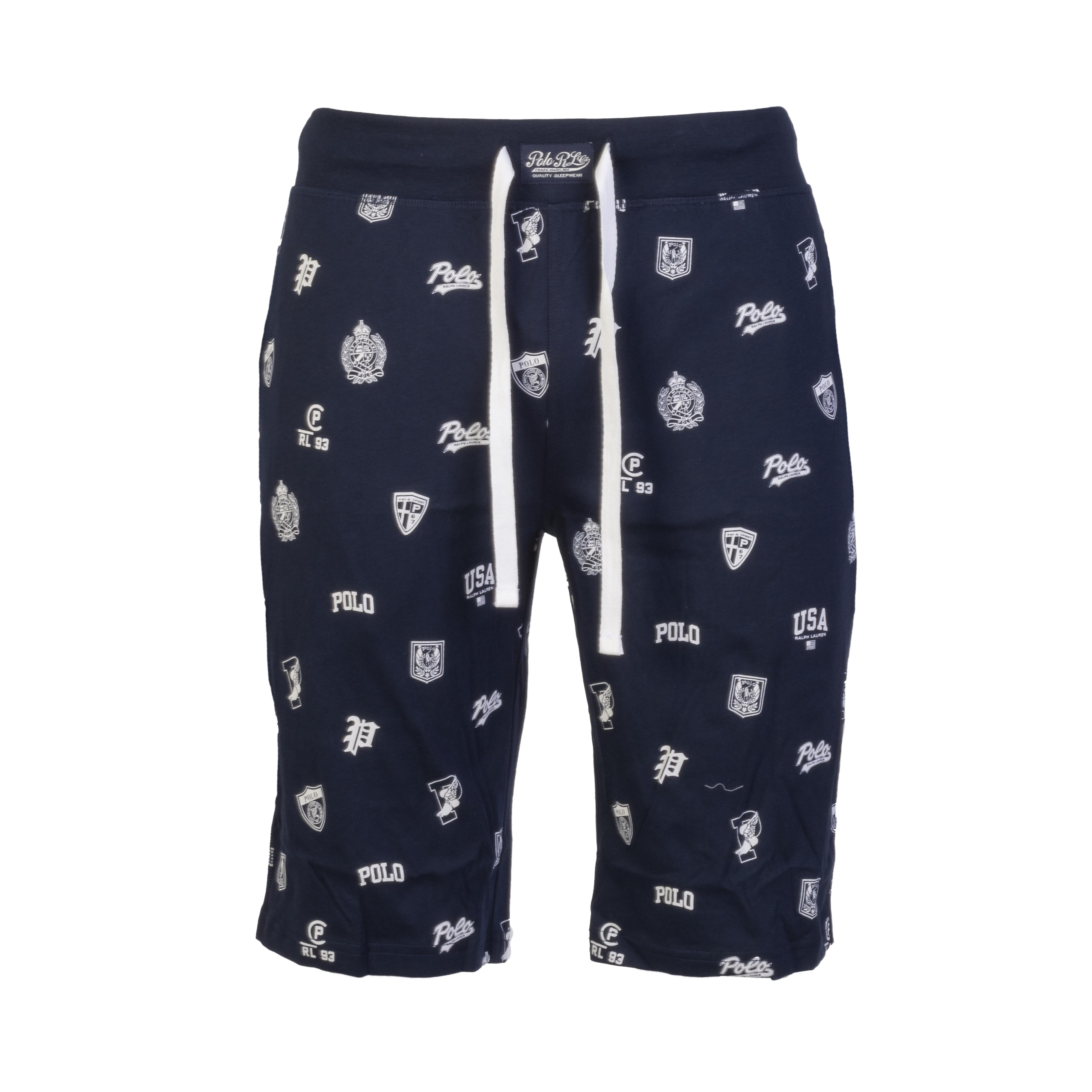 Short de pyjama  en coton bleu marine à motifs blancs