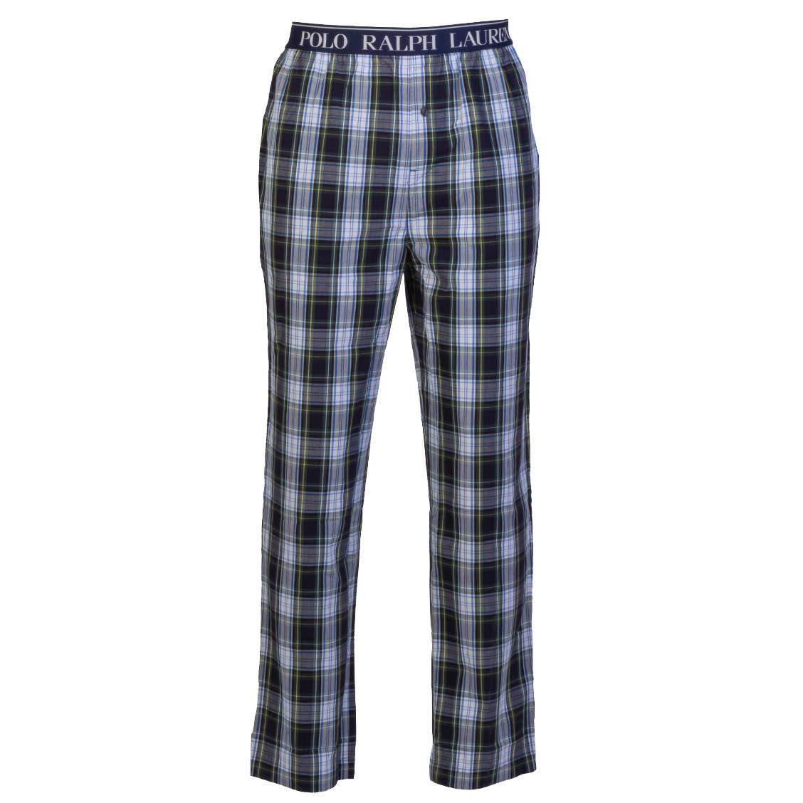 Pantalon de pyjama  en coton à carreaux bleu marine, gris, bleus, blancs et verts