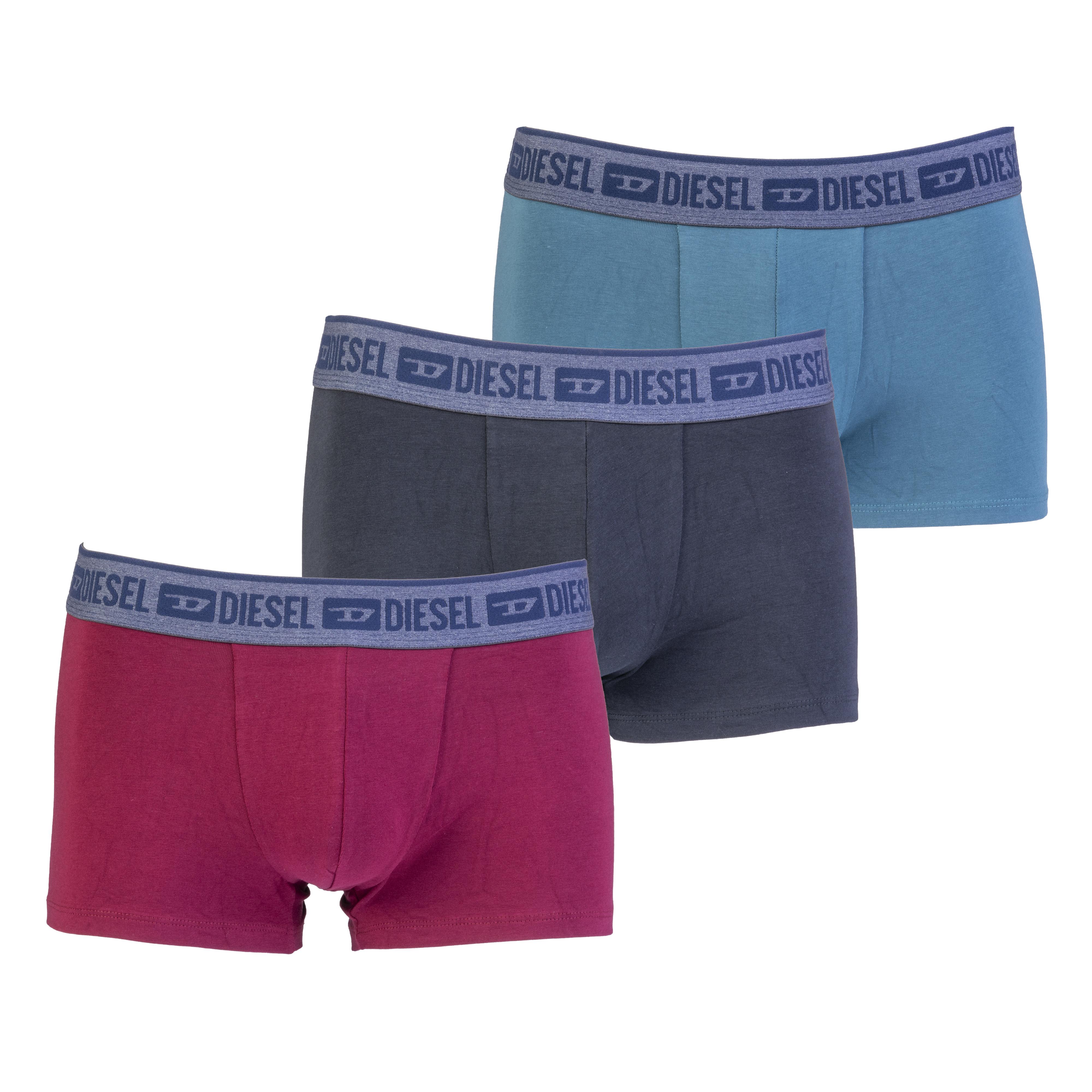 Lot de 3 boxers diesel shawn en coton stretch bleu canard, noir et bordeaux