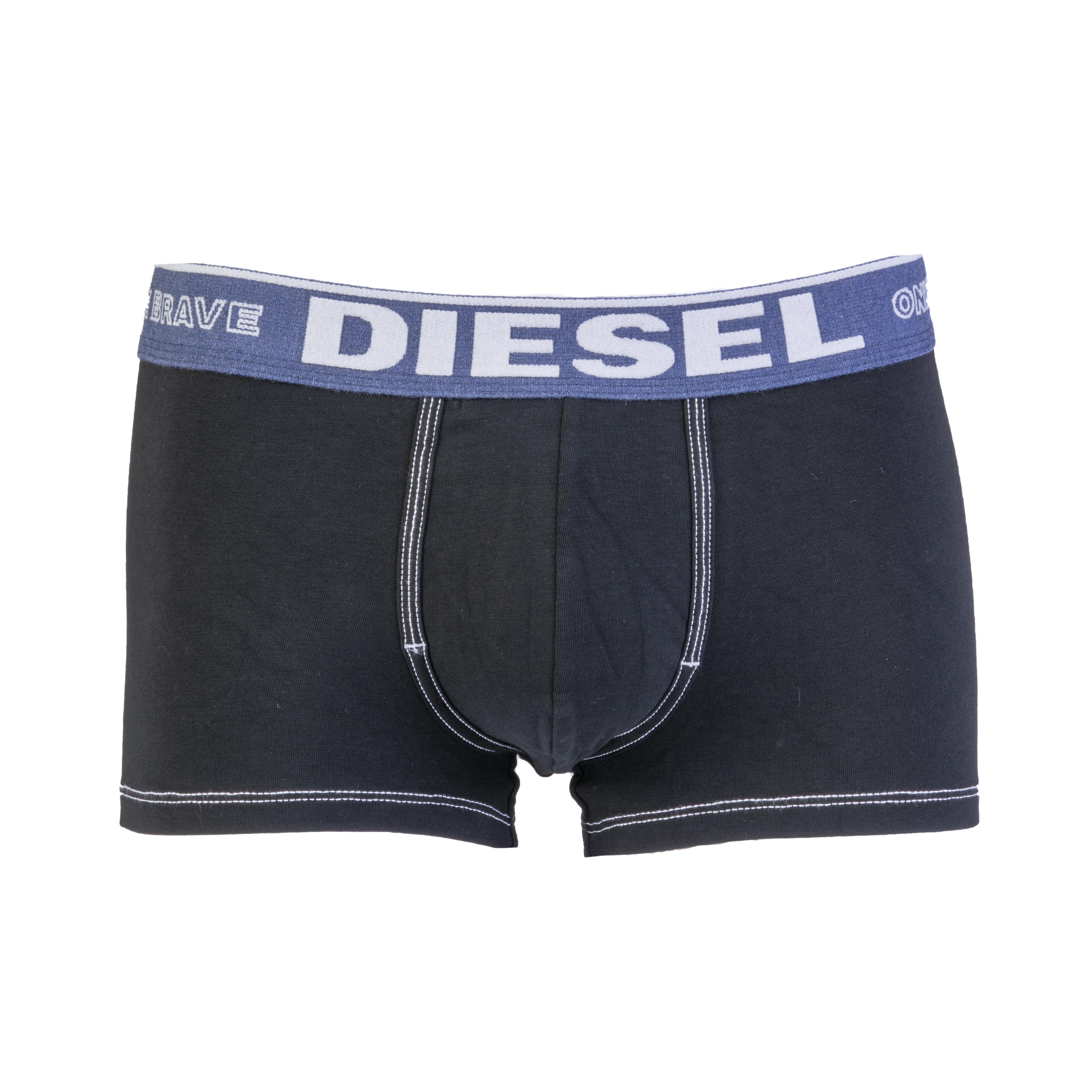 Boxer diesel damien en coton stretch noir à ceinture bleu denim brodée de la marque en feutrine blanche