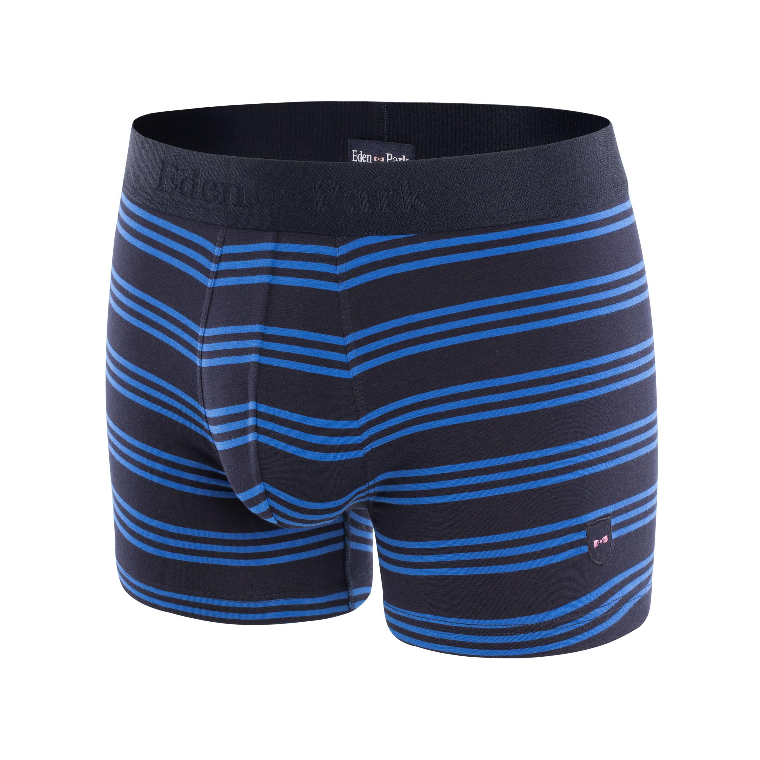 Boxer eden park en coton stretch bleu marine à rayures bleu pétrole