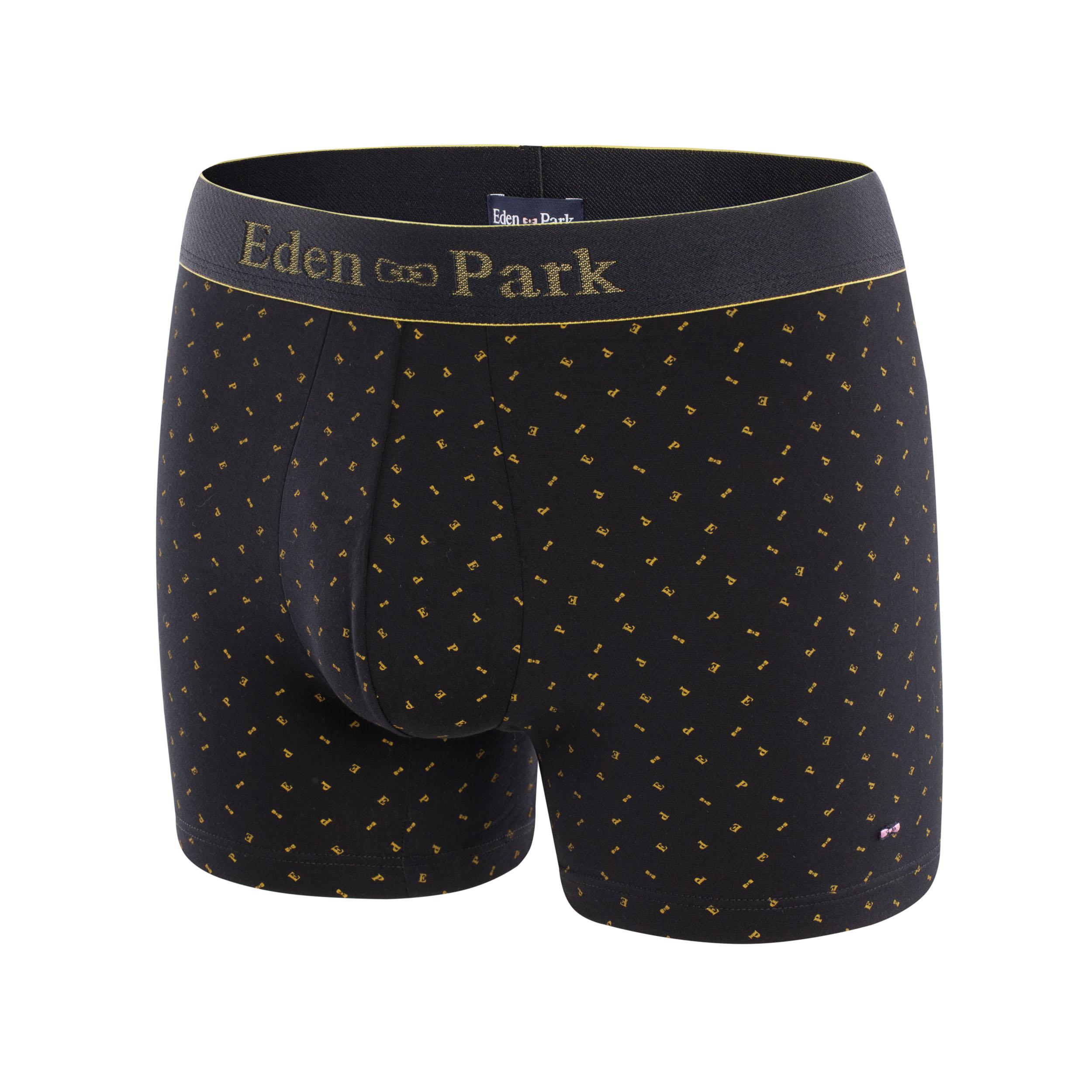 Boxer eden park en coton stretch noir à motifs n?uds papillons et lettres jaunes