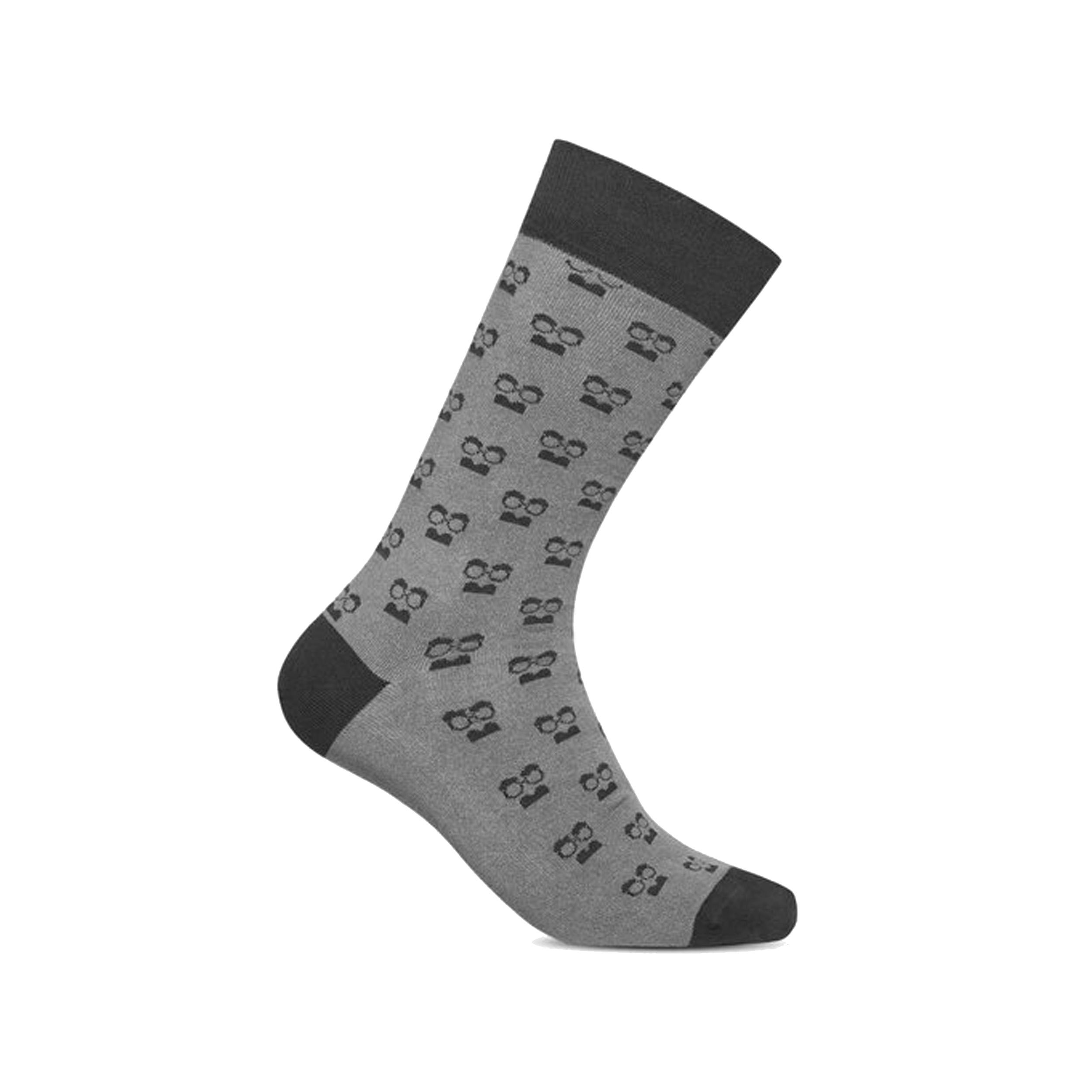 Chaussettes  en coton mélangé gris à motifs lunettes noires
