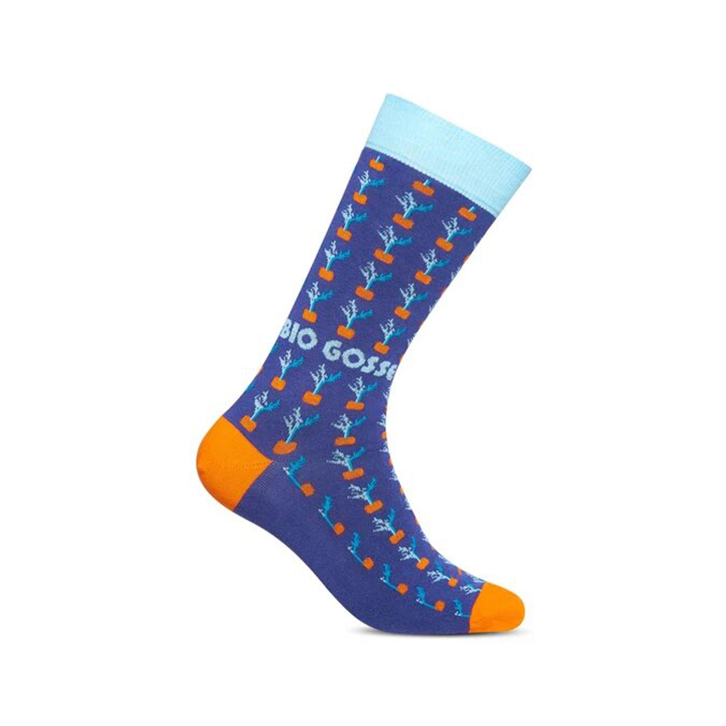 Chaussettes  en coton mélangé bleu à motifs carottes