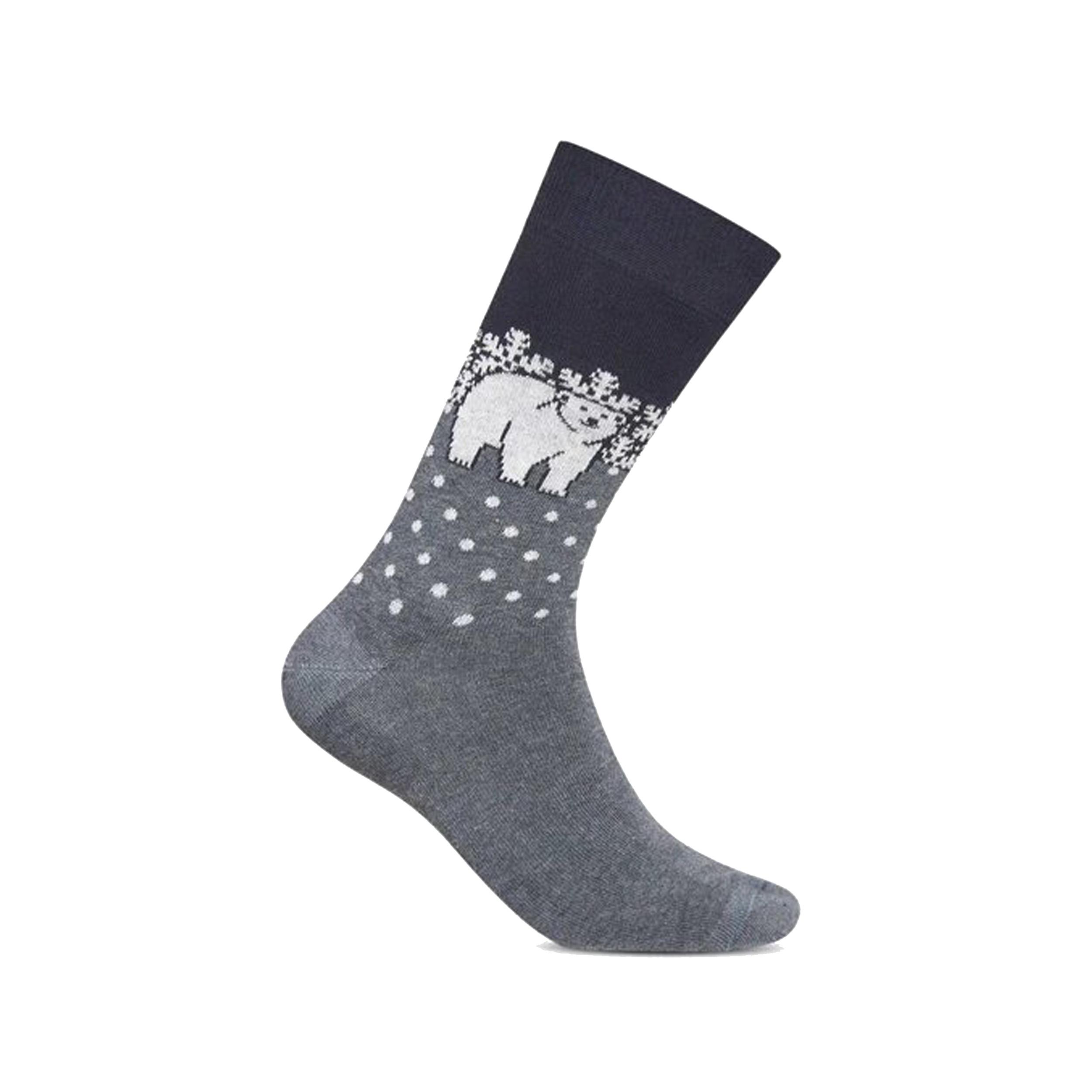 Chaussettes  en coton mélangé gris anthracite à motifs ours blanc