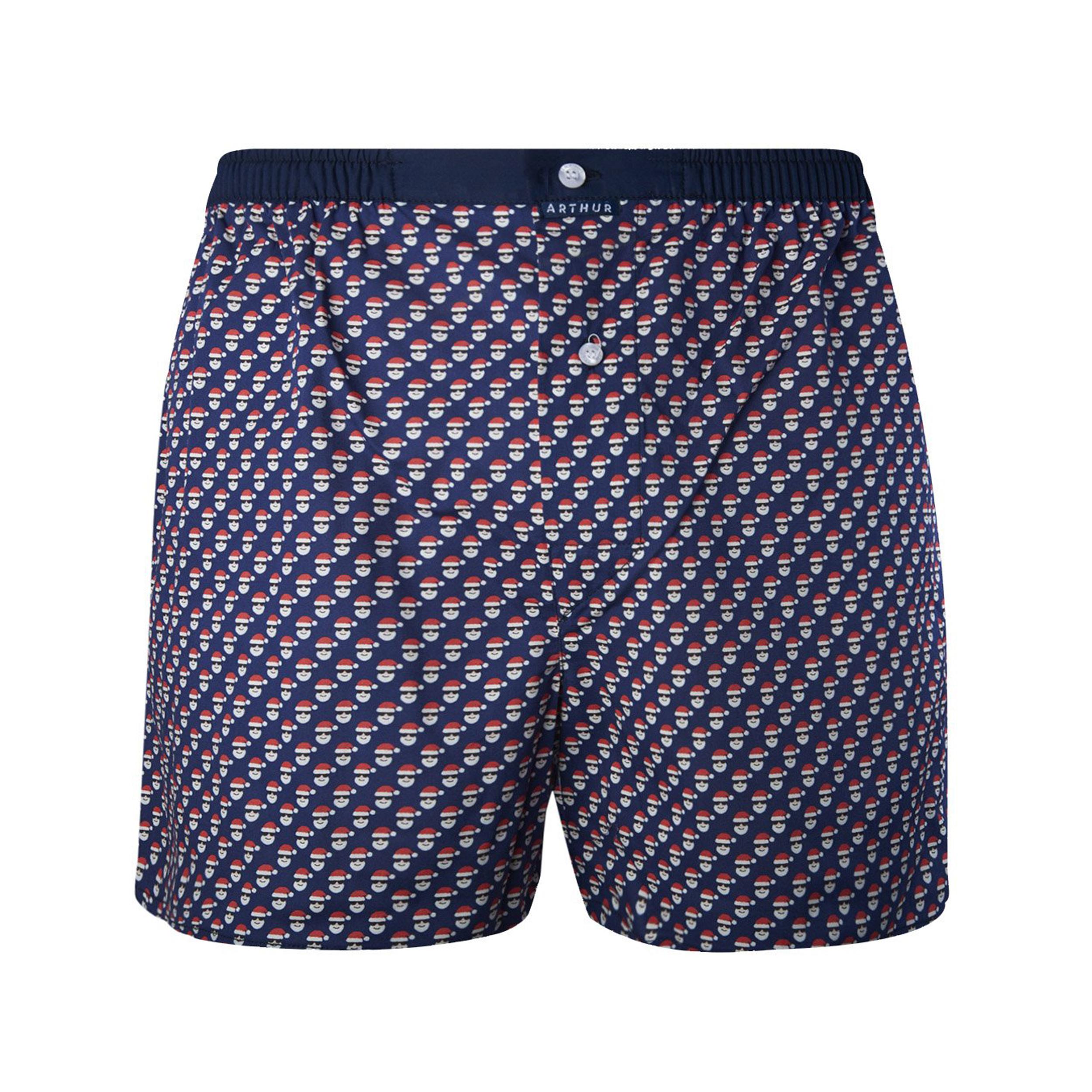 Caleçon  en coton stretch bleu marine à motifs pères noël