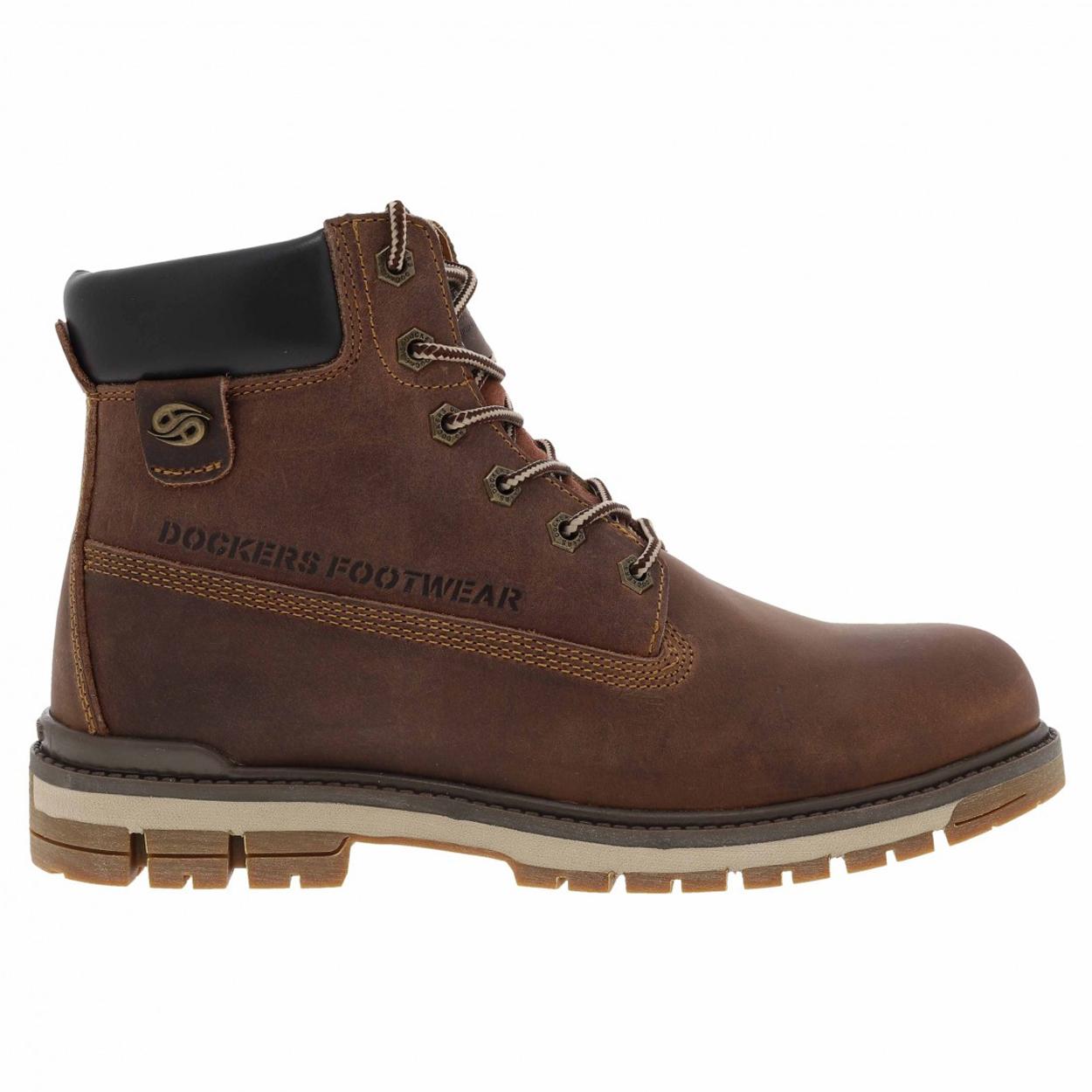 Boots  marron foncé à empiècements en cuir véritable