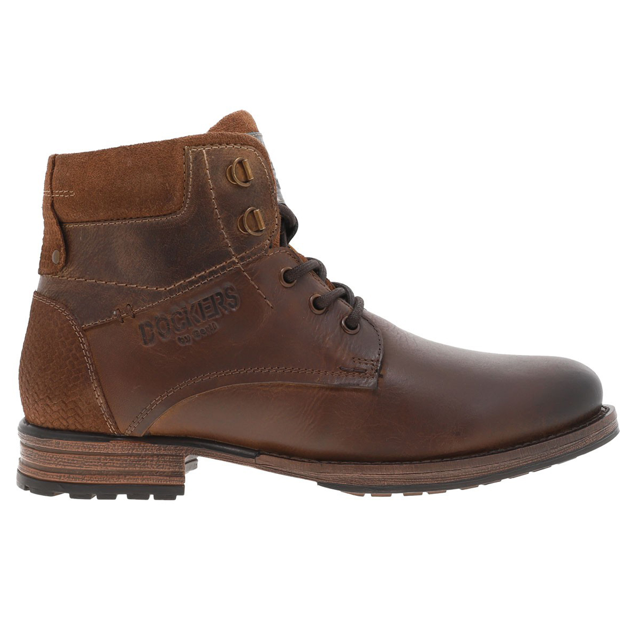 Boots basses  en cuir véritable marron foncé à empiècements en suédine