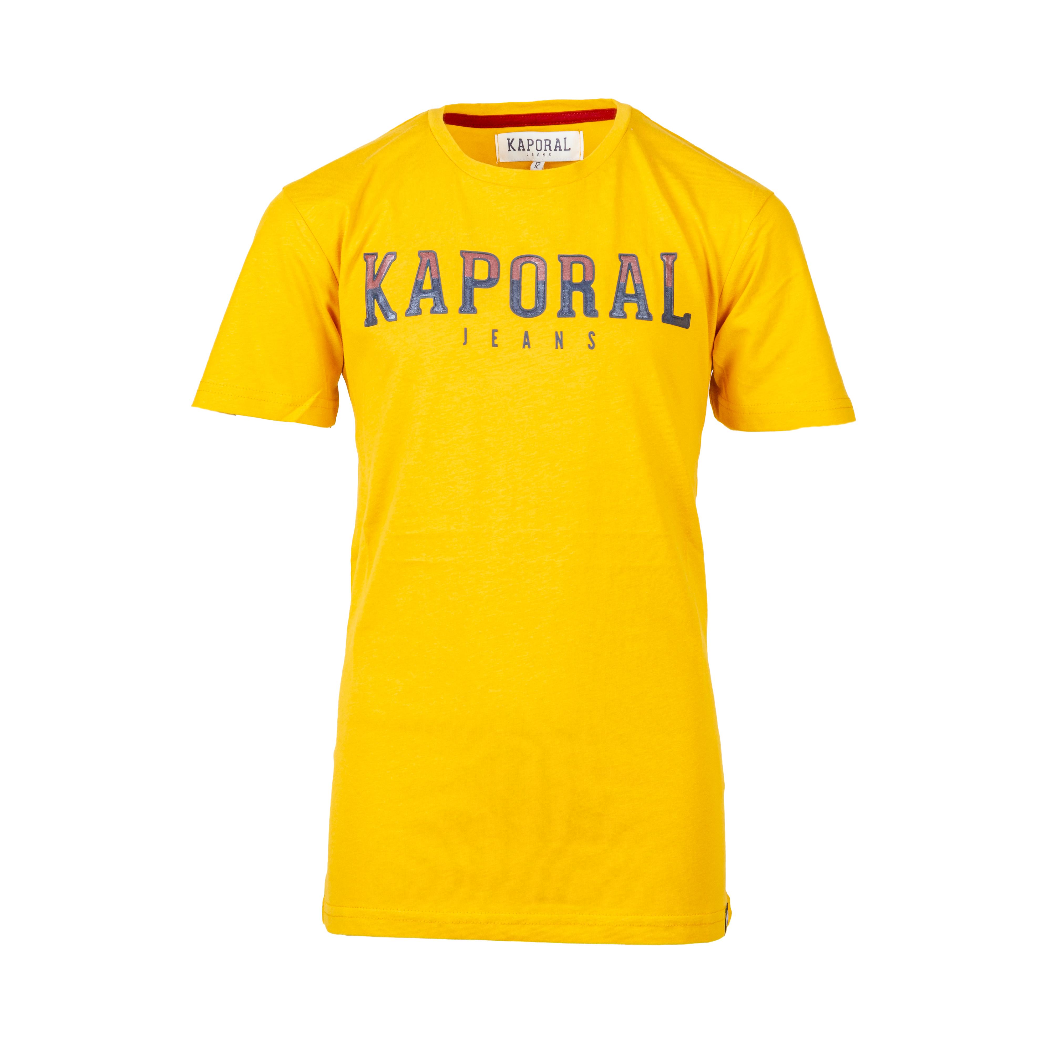 Tee-shirt col rond  bonar en coton jaune moutarde floqué