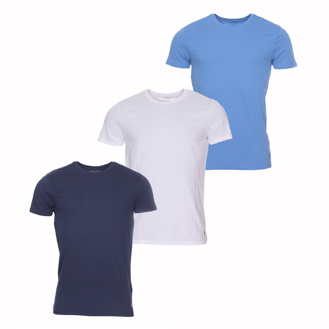 Lot de 3 tee-shirts col rond  en coton bleu marine, bleu pétrole et blanc