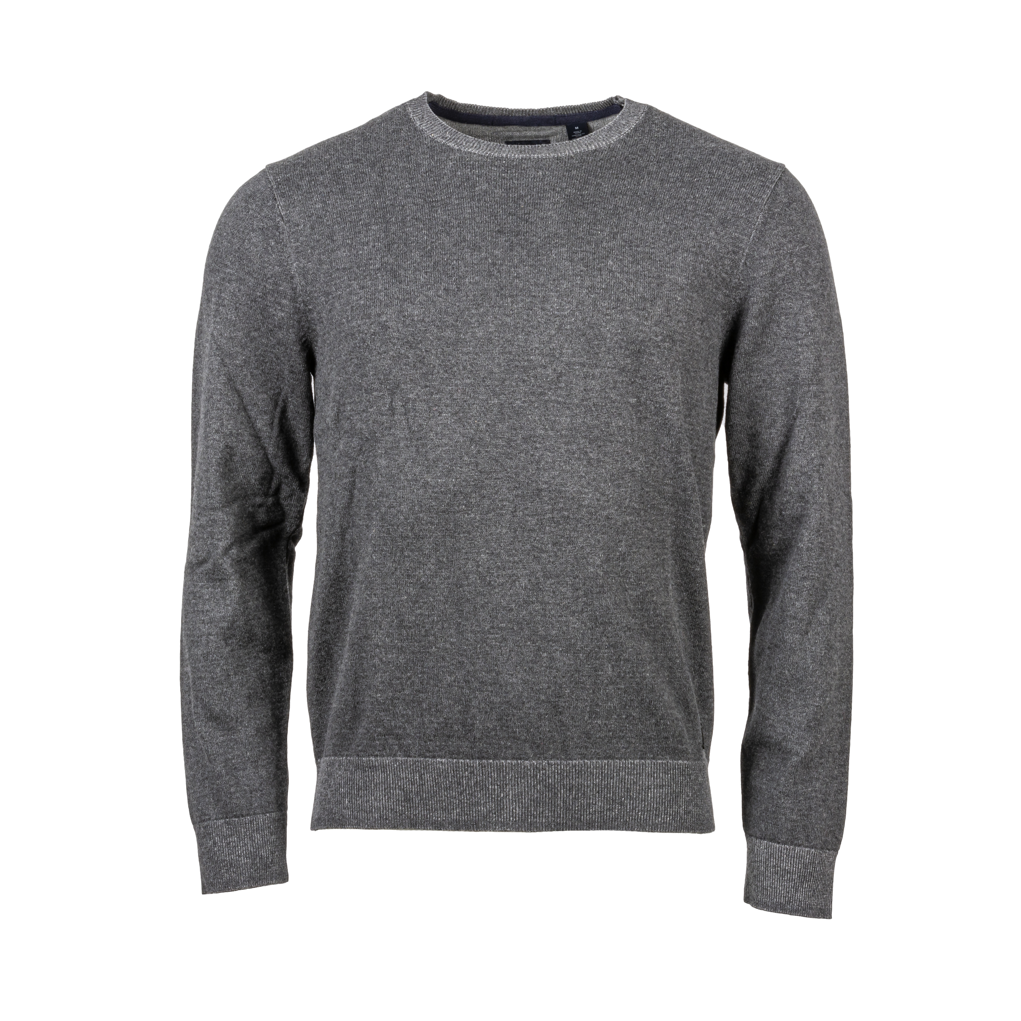 Pull col rond  en coton gris anthracite