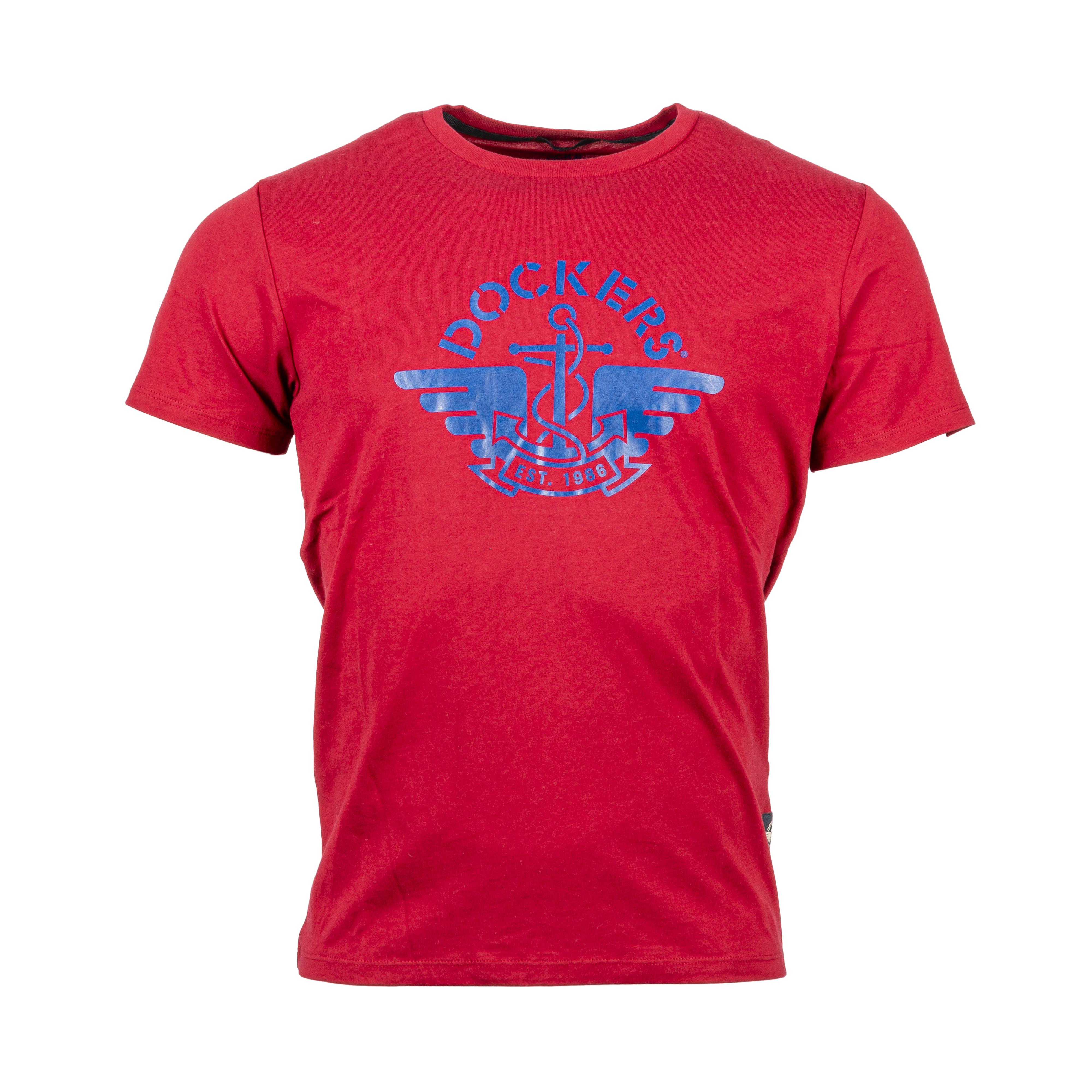Tee-shirt col rond  en coton rouge floqué