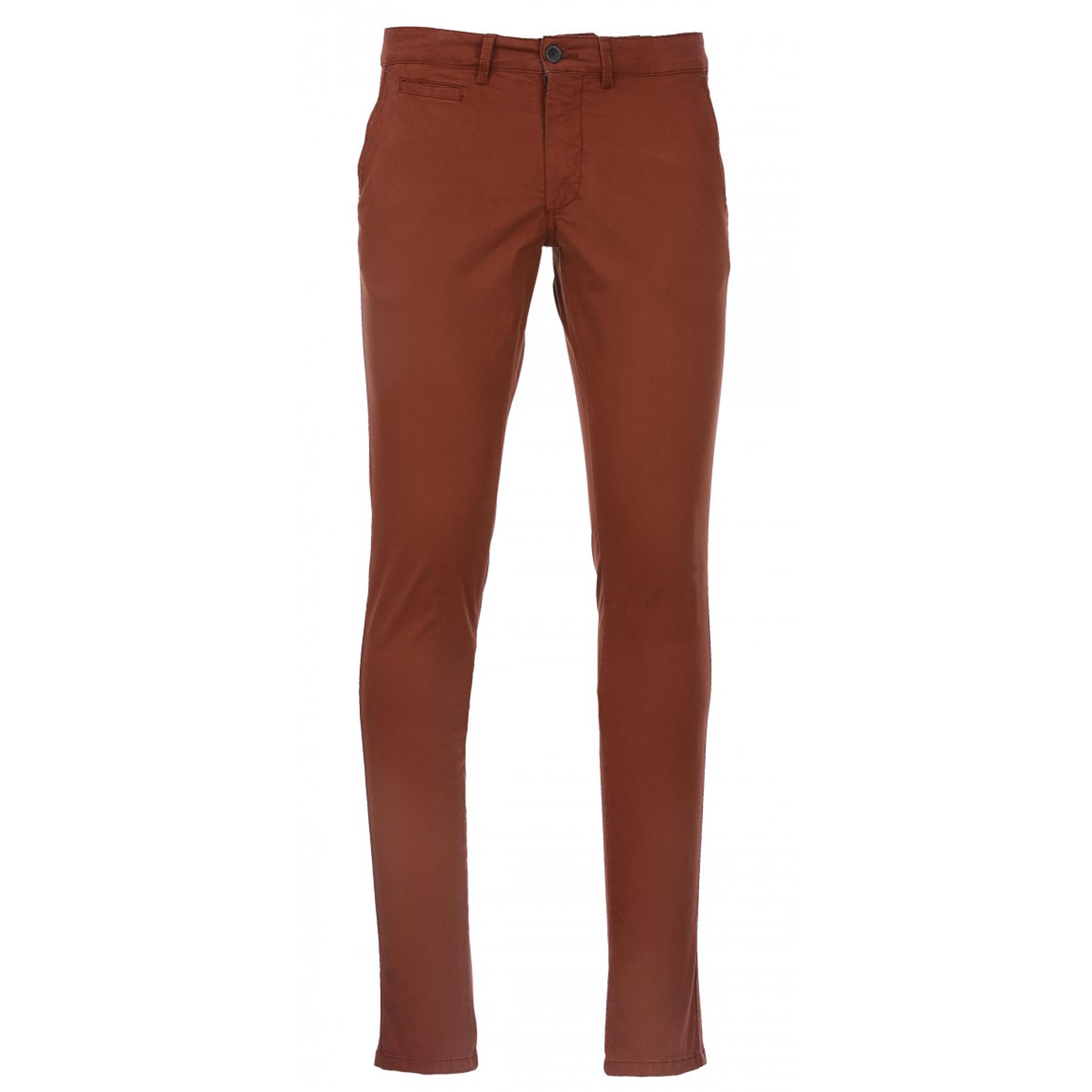 Pantalon chino Delahaye en coton stretch rouge brique