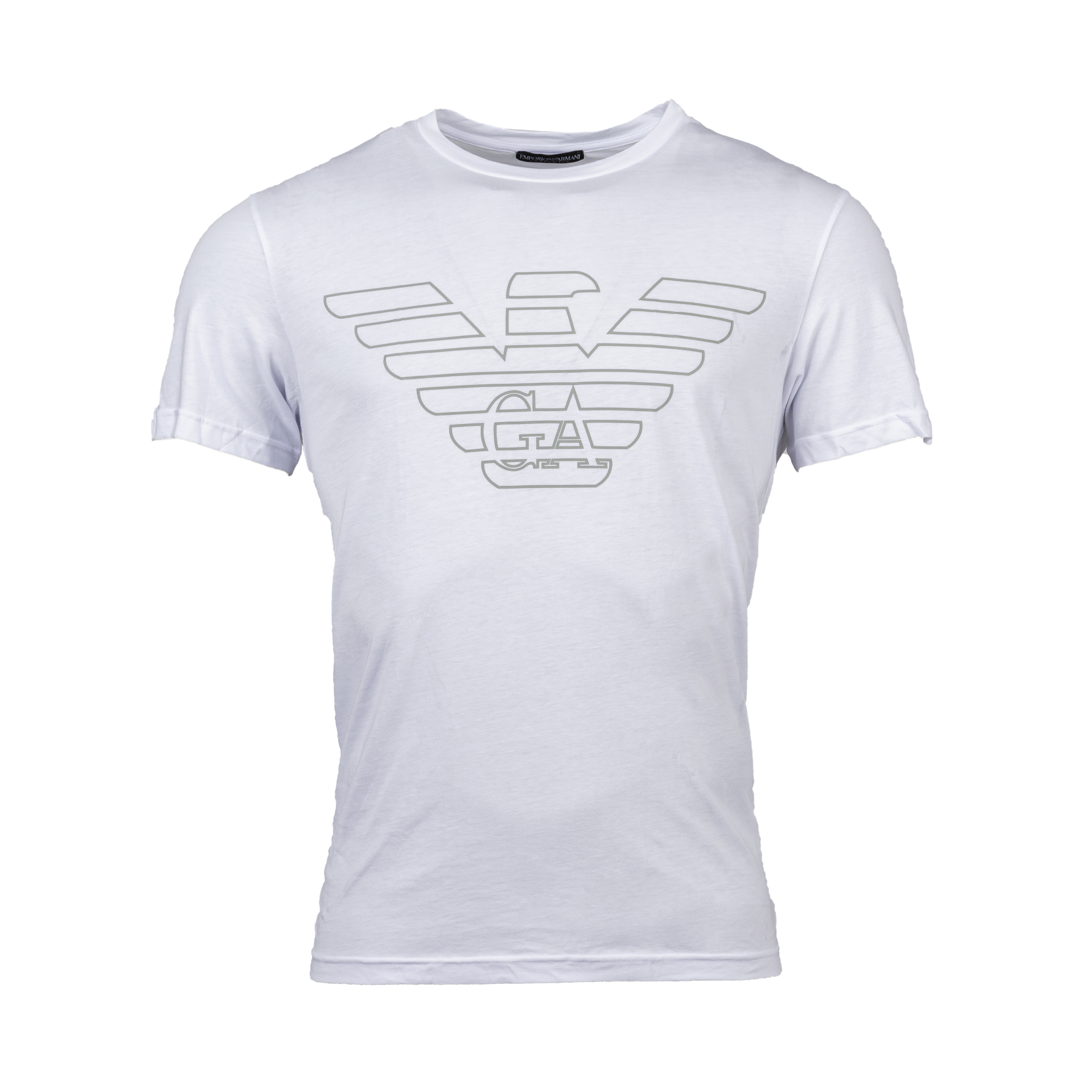 Tee-shirt col rond  en coton biologique blanc floqué