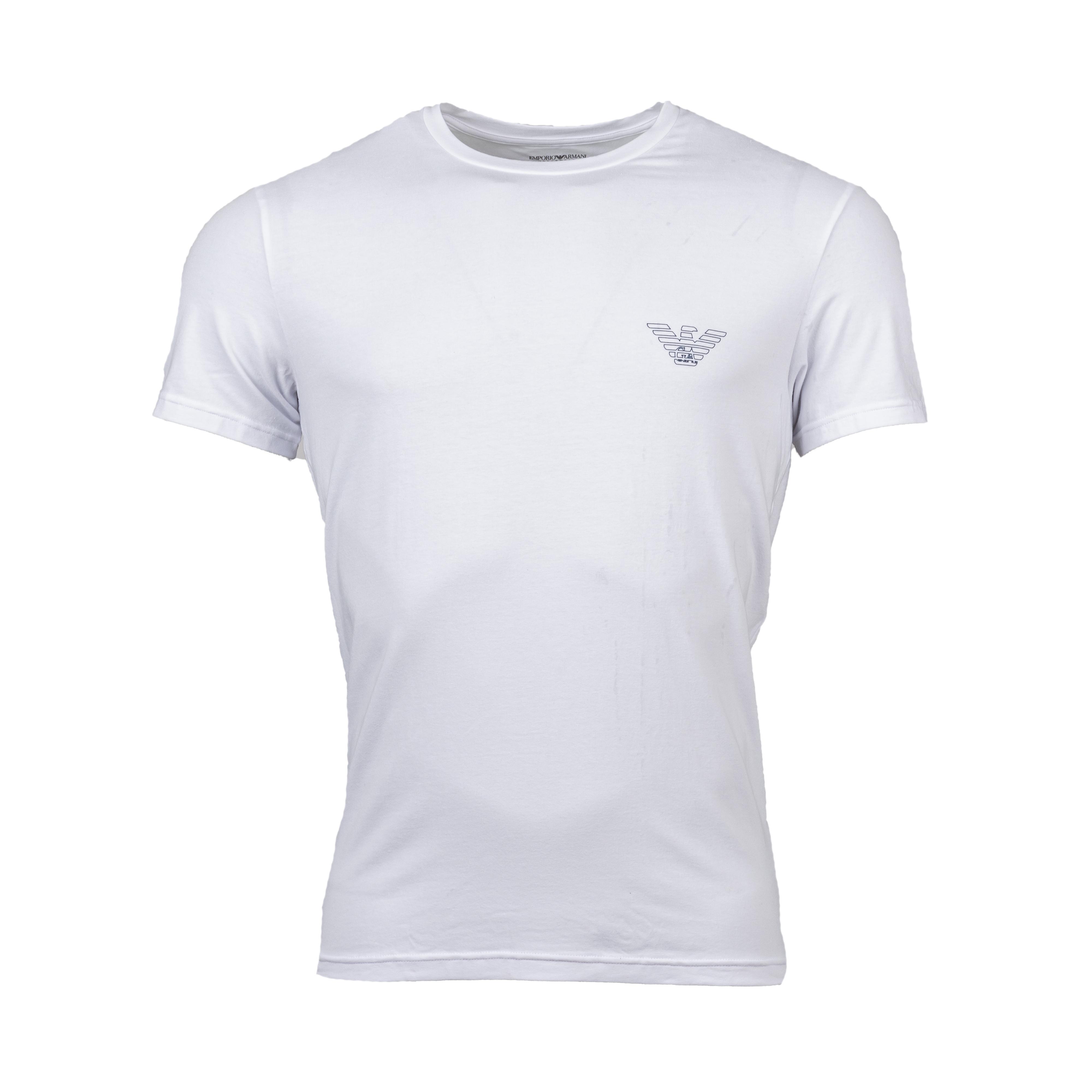 Tee-shirt col rond  en coton biologique stretch blanc floqué