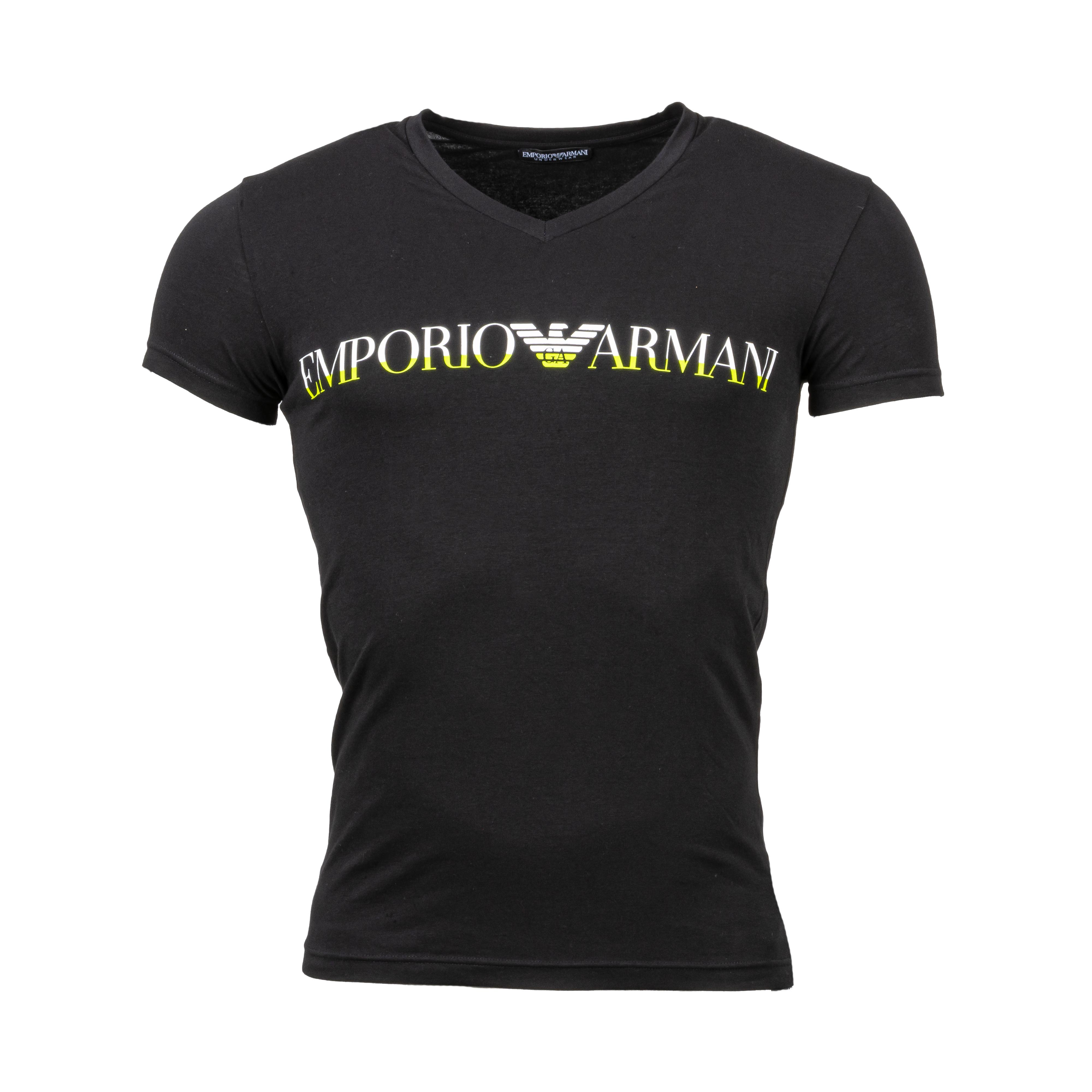 Tee-shirt col v  en coton stretch noir floqué