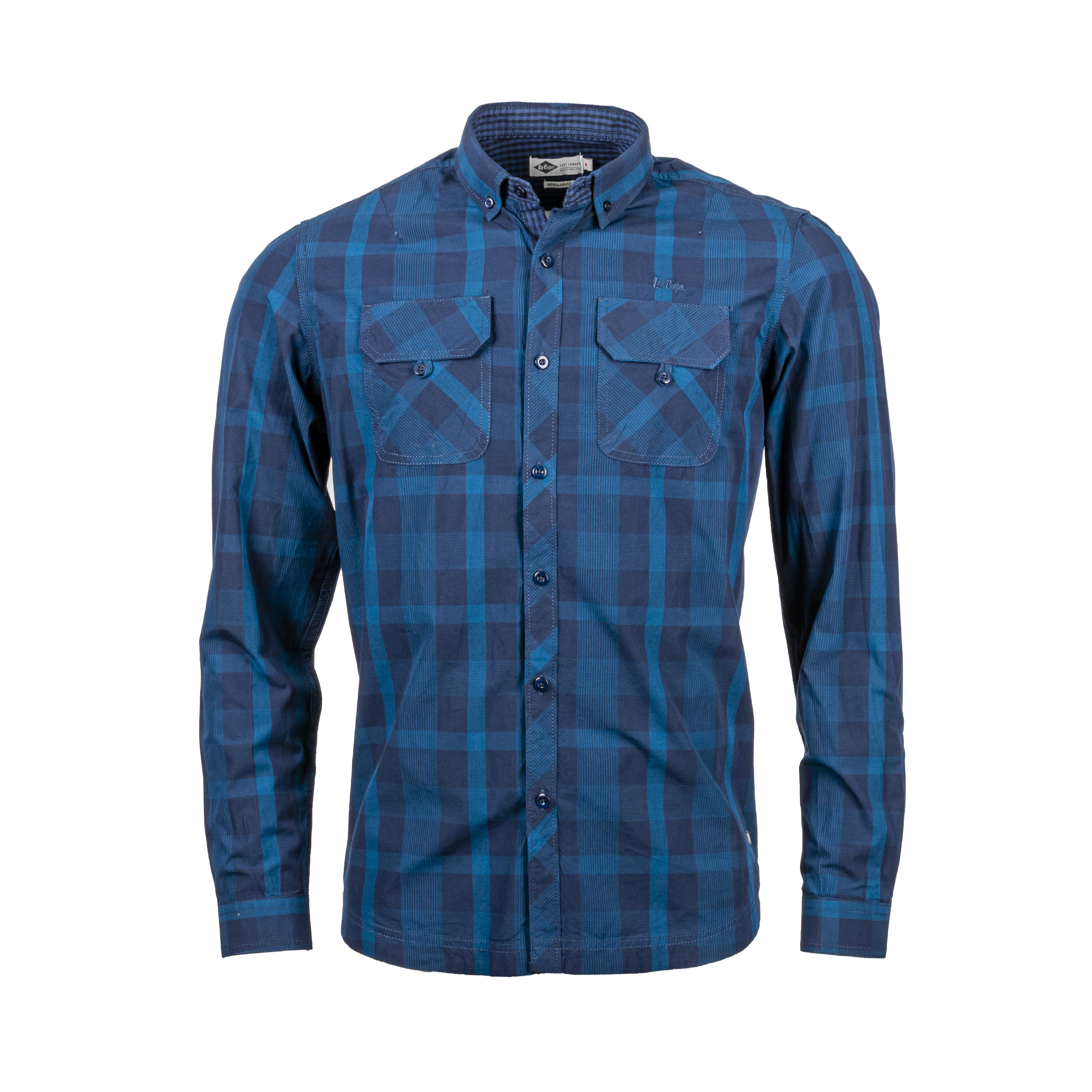 Chemise ajustée Lee Cooper Drums en coton à carreaux bleu marine et bleu pétrole