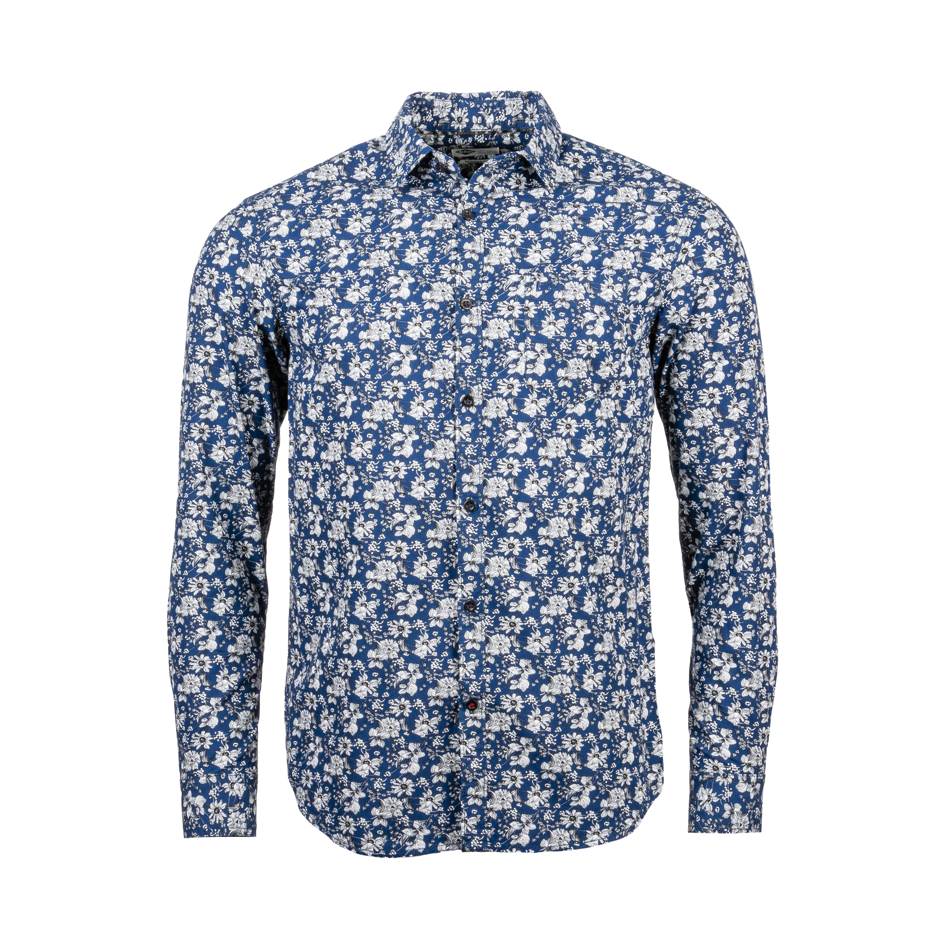 Chemise ajustée  derty en coton bleu marine à motifs floraux blancs et noirs
