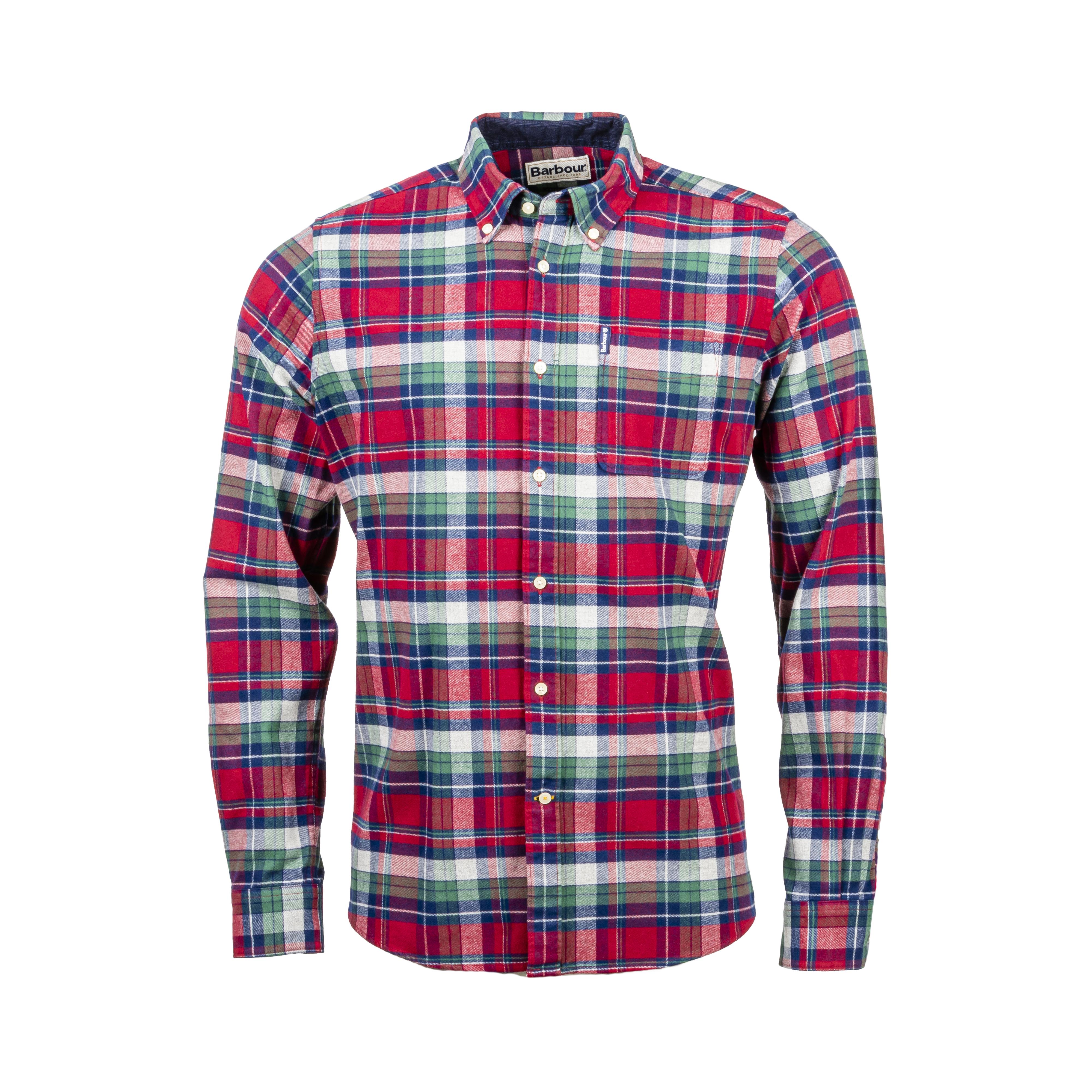 Chemise ajustée Barbour Highland Check en flanelle de coton à carreaux rouges, bleus, verts et blancs