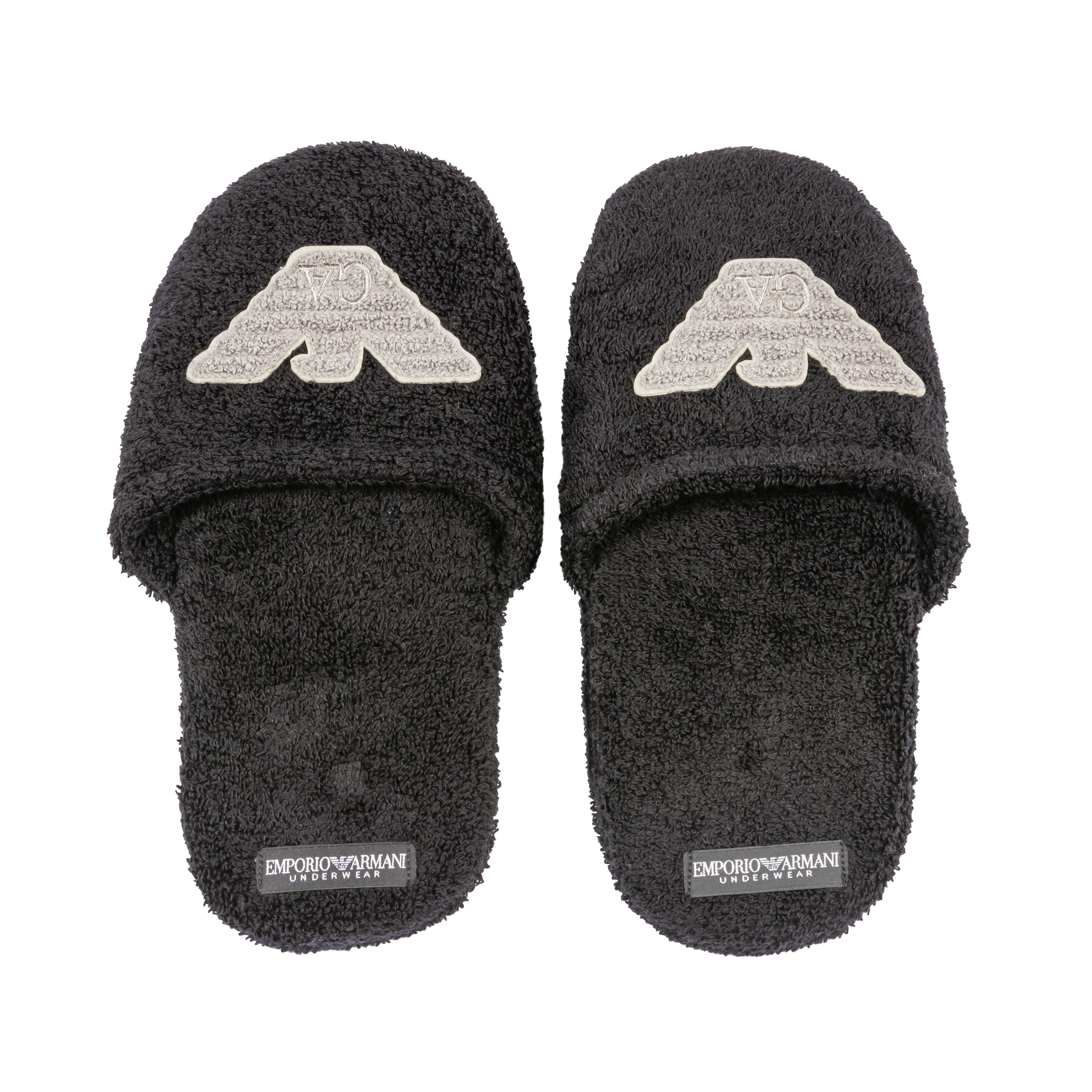 Chaussons  en coton noir et logo gris