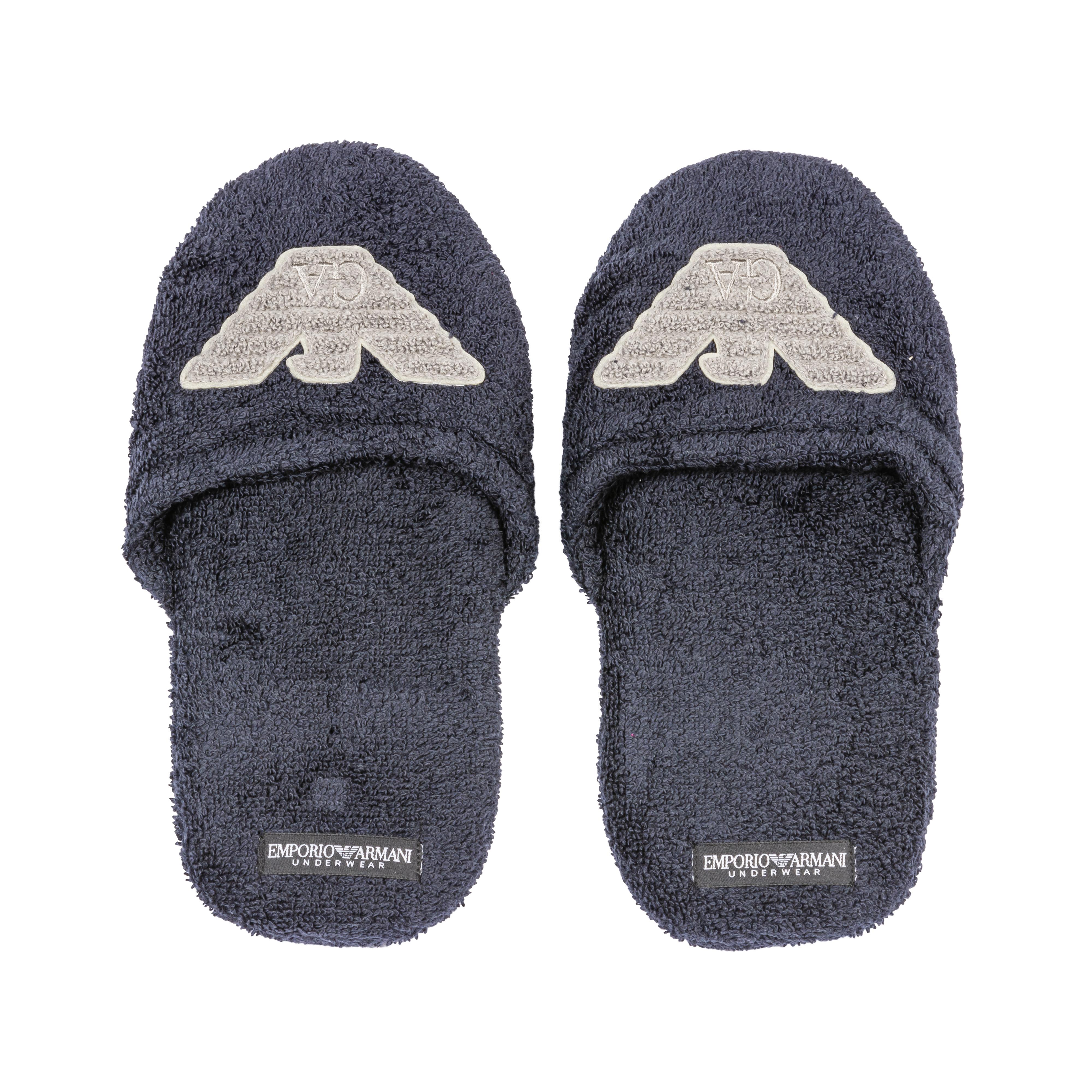 Chaussons  en coton bleu marine et logo gris