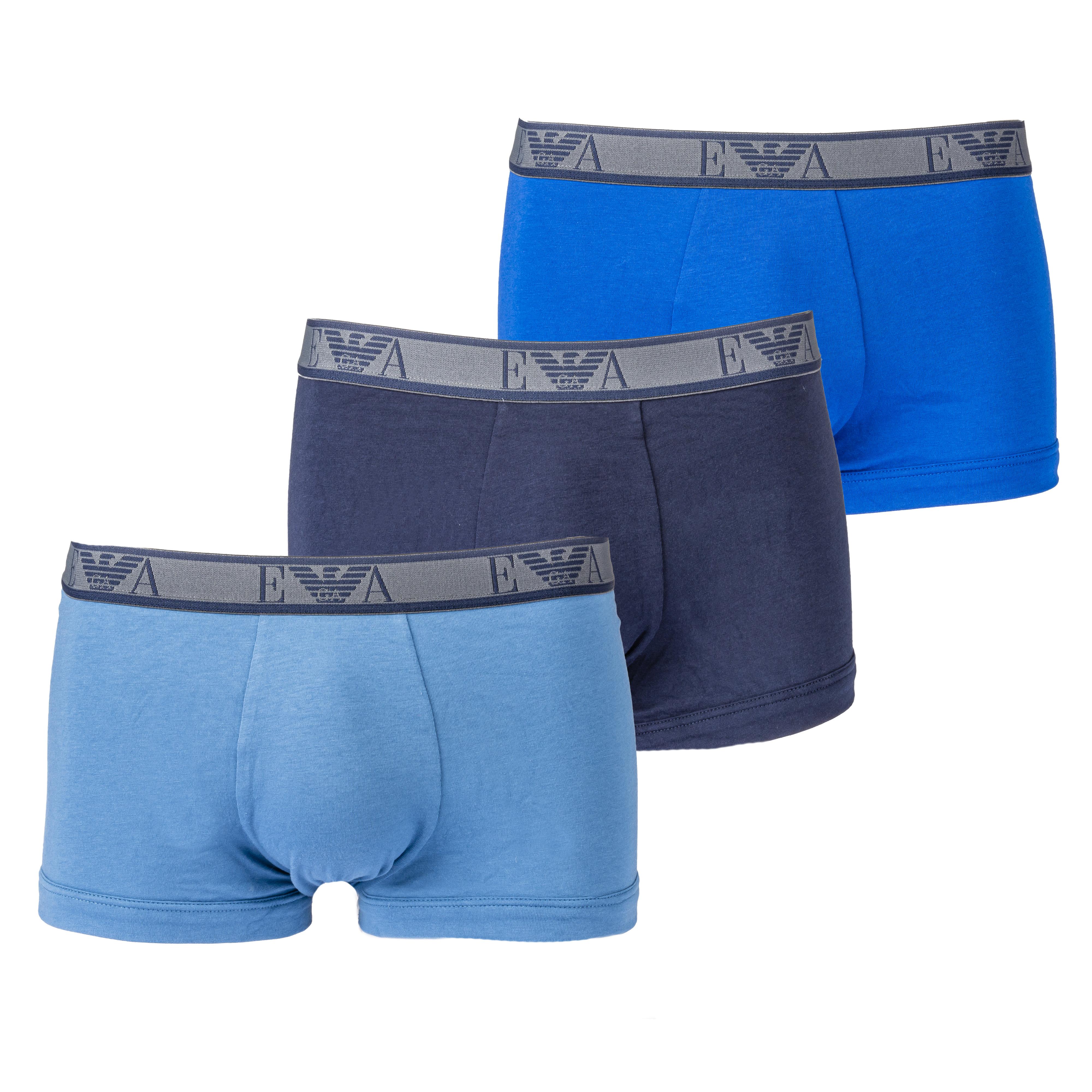 Lot de 3 boxers  en coton stretch bleu nuit, bleu pétrole et bleu marine