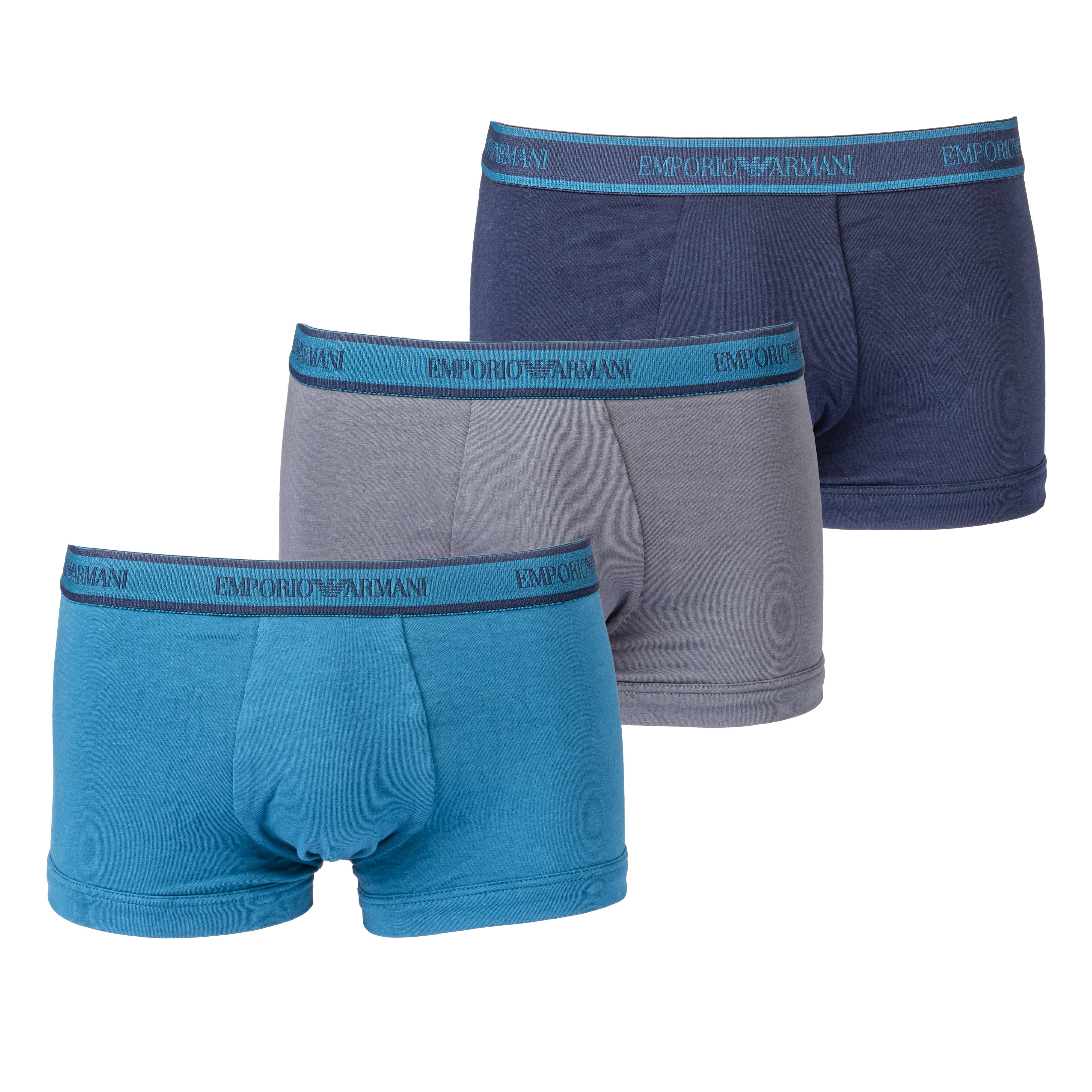 Lot de 3 boxers  en coton stretch bleu marine, bleu pétrole et gris