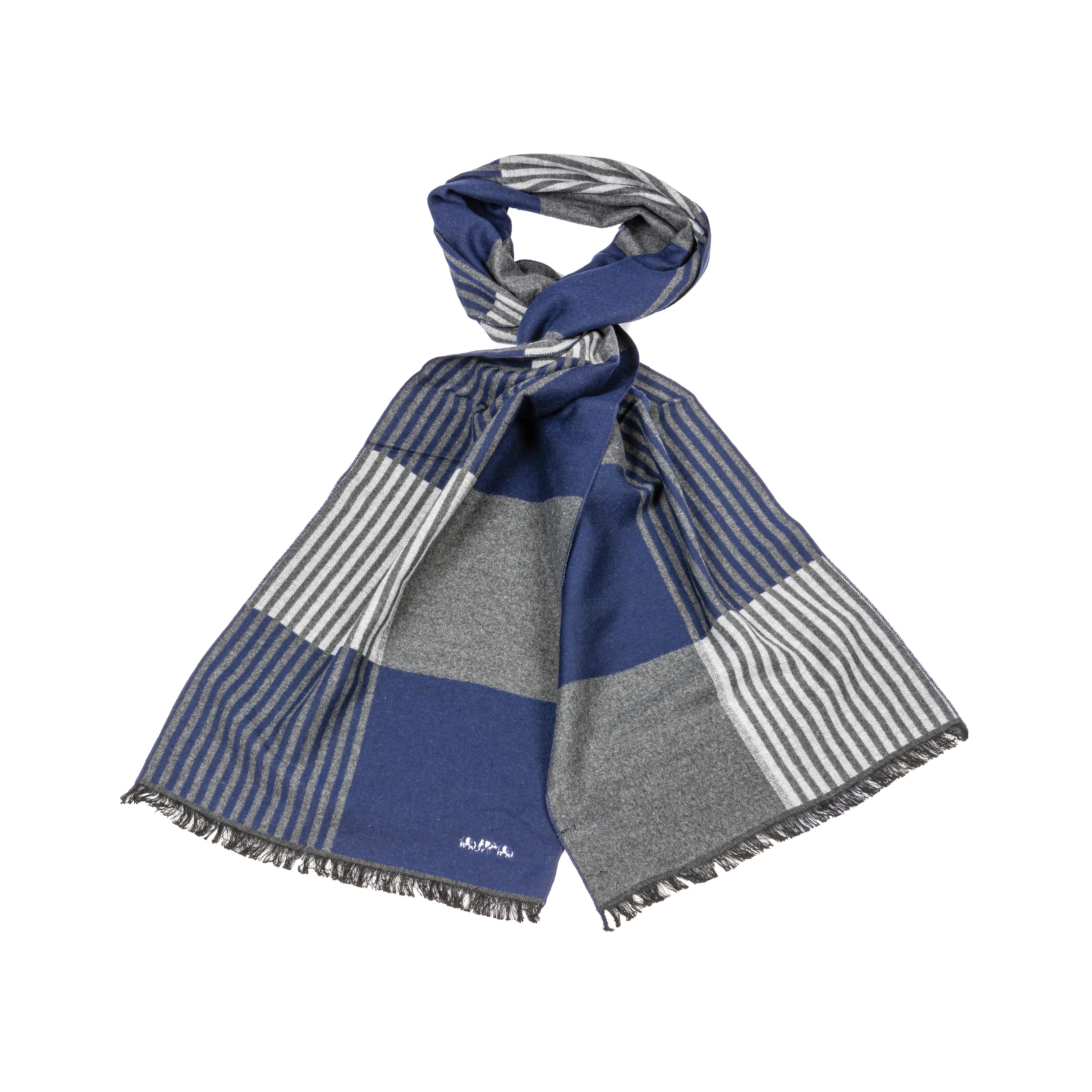 Echarpe  à carreaux et rayures bleu marine et grise