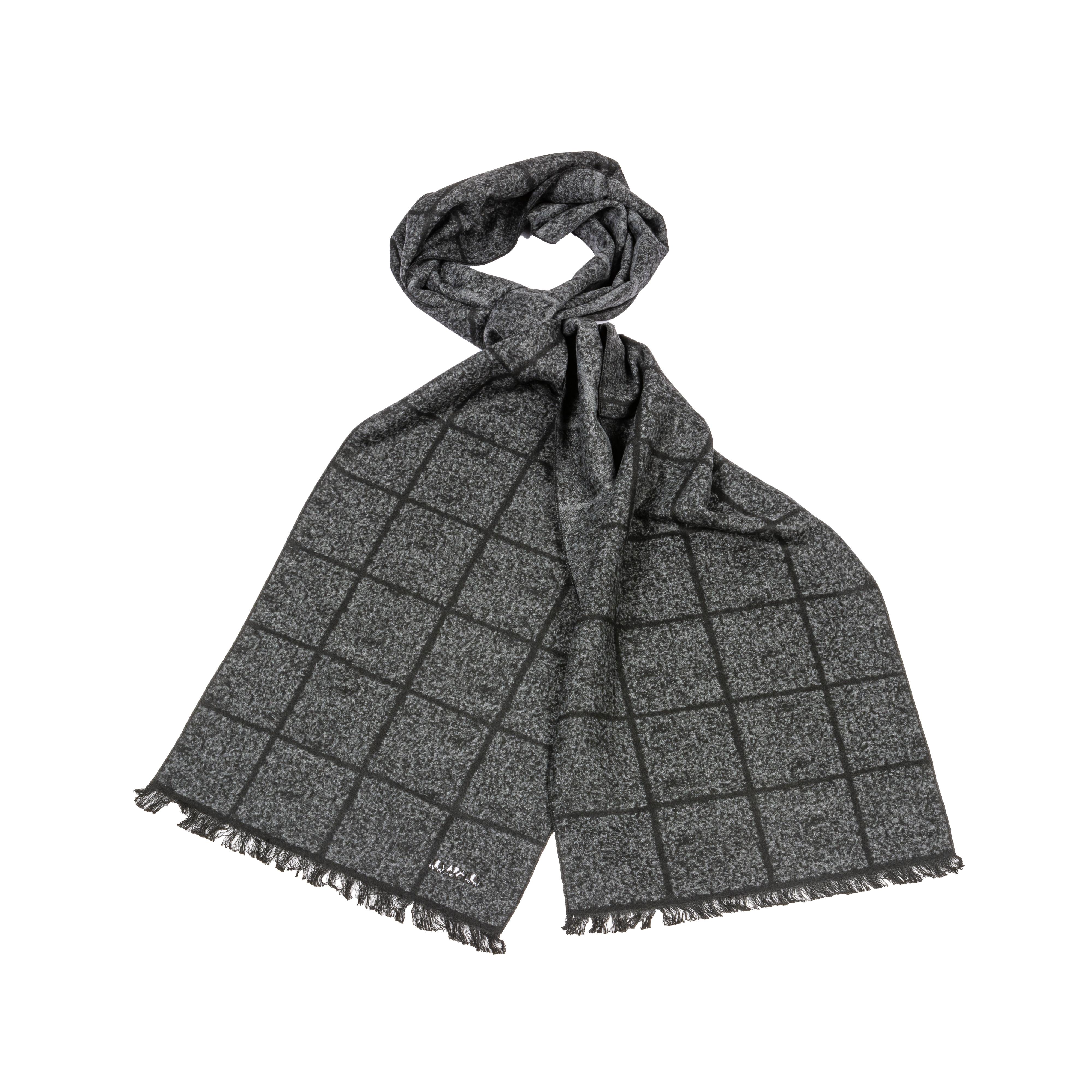 Echarpe  à carreaux gris anthracite et noir